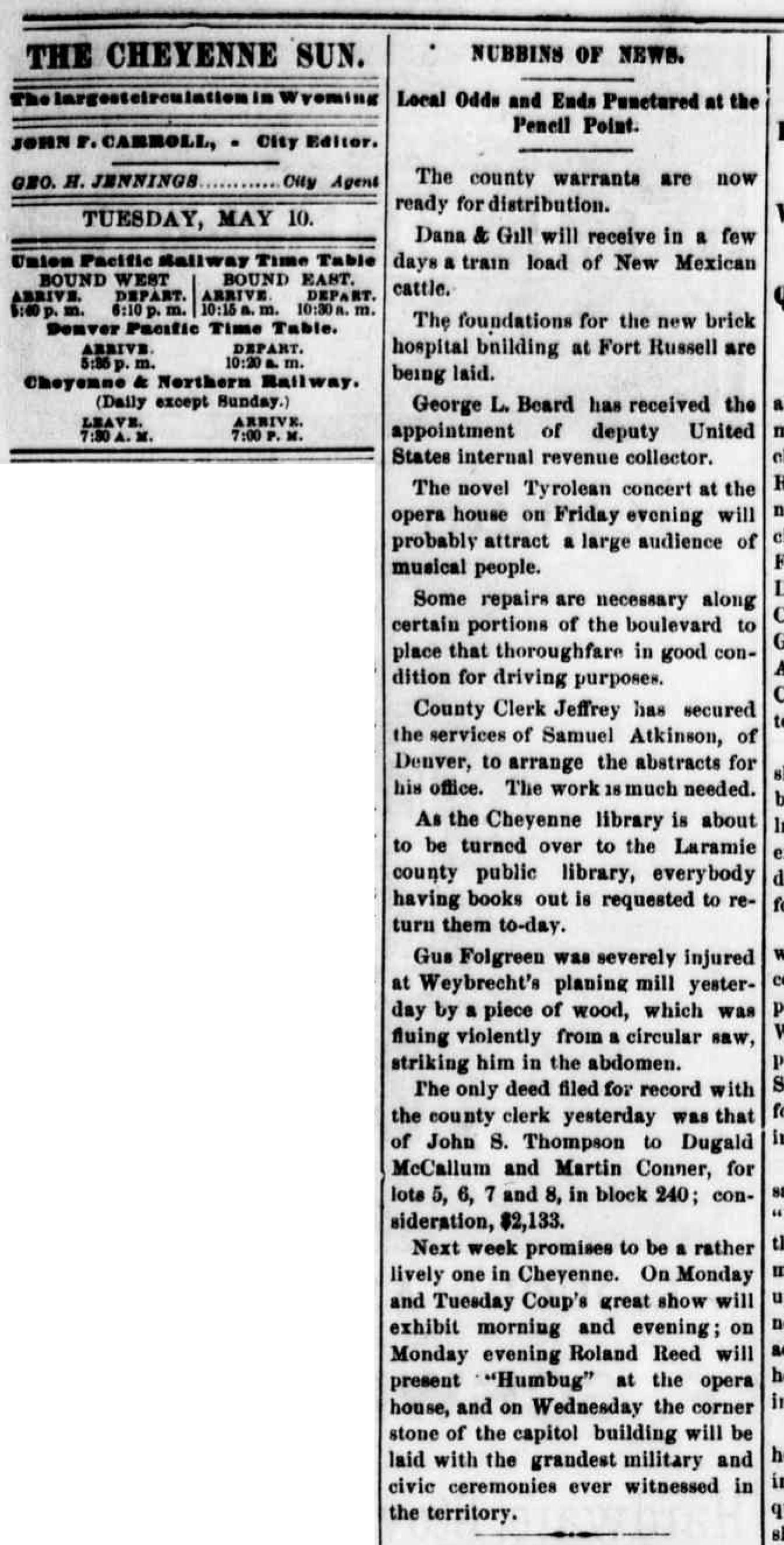 1887-Cheyenne Daily Sun no. 52 May 10, 1887, page 3-Roland-cornetstone0-2.jpg