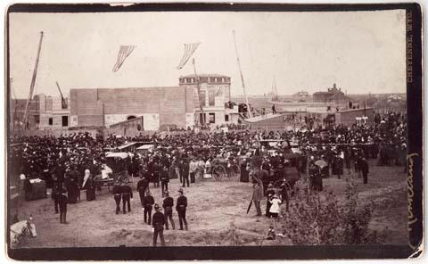 Kirkland Neg 107, BBQ tables at Capitol Cornerstone ceremony, May 18, 1886.jpg