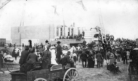 Sub Neg 7178, 10739, Placing the cornerstone, WY State Capitol Building, 1886.jpg