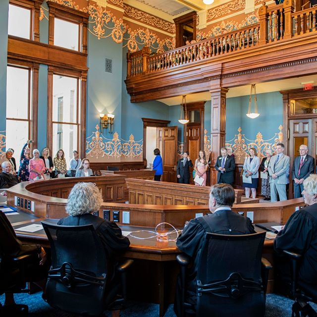 Current and former Wyoming Supreme Court Justices held a brief opening ceremony of the Historic Supreme Court Room in the Capitol on July 10. The 1888 Territorial House Chamber was occupied by the Wyoming Supreme Court from 1890 to 1937. No room in the Capitol has been more radically transformed by this project than the Historic Supreme Court Chamber.