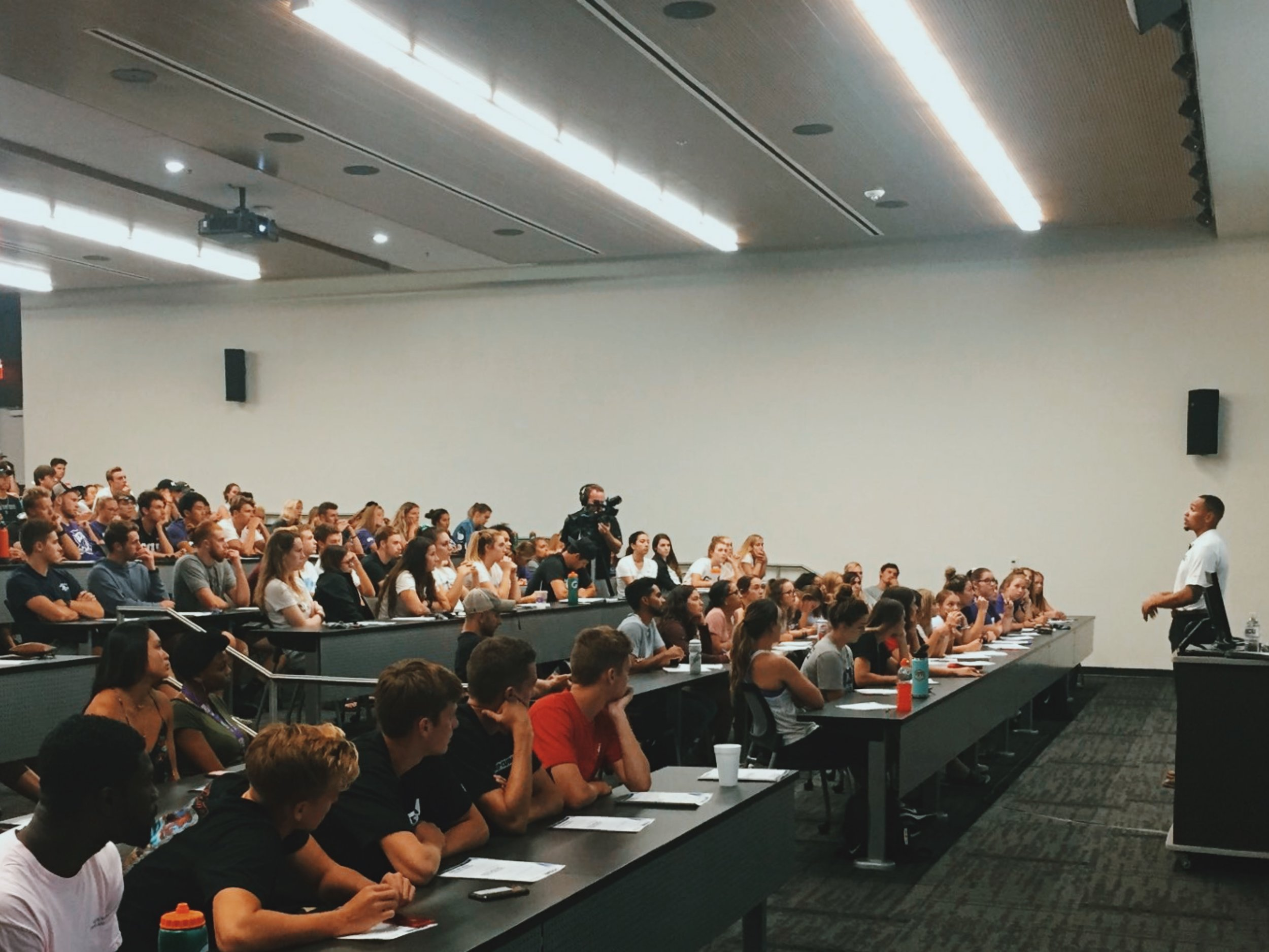 Jarrod Barnes delivering a keynote to Grand Canyon University Student-Athletes