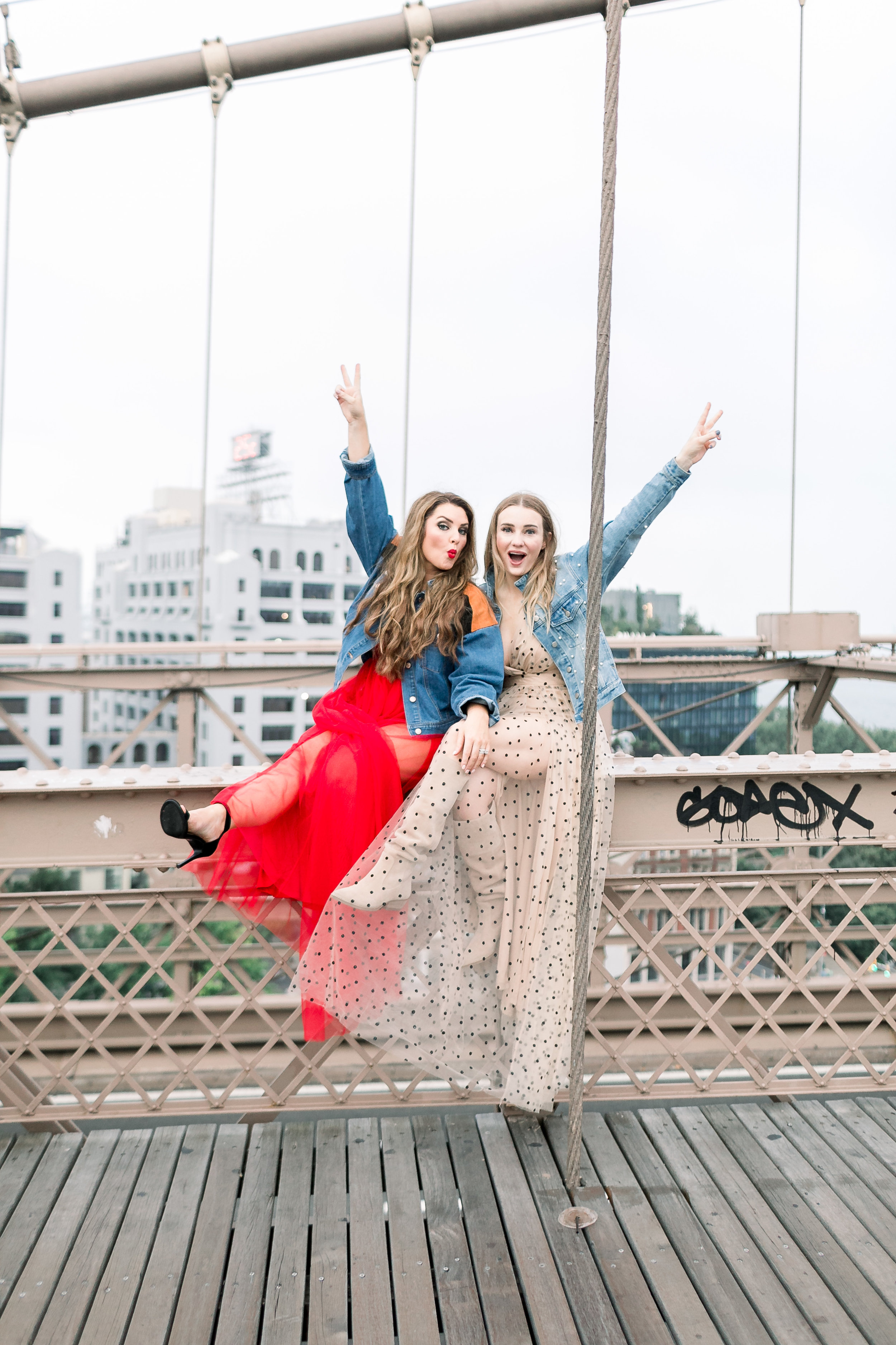 Collins Tuohy Smith & Megan Bonner on Brooklyn Bridge by Mary Kate Steele Photography