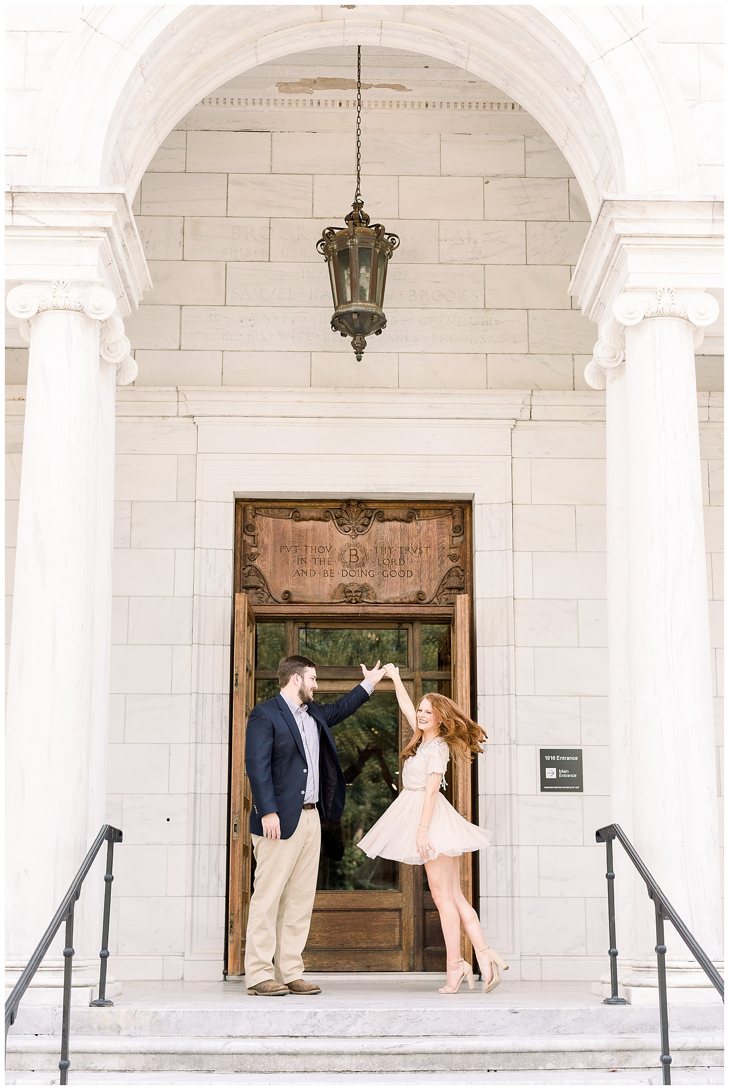 Megan and Kyle Brooks Museum Engagement Session shot by Mary Kate Steele Photography Luxury Memphis Wedding Photographer
