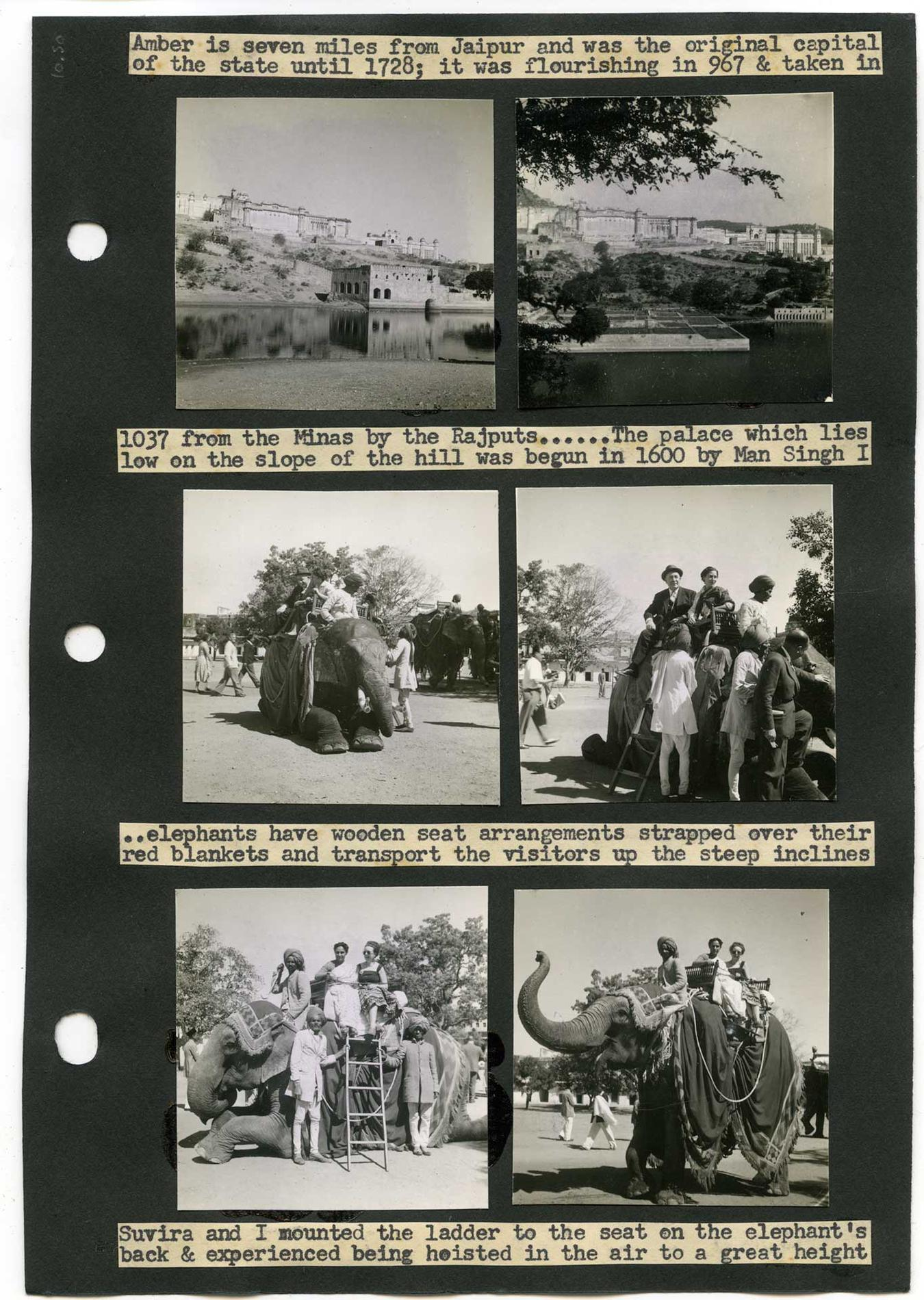 Margaret Corry, album-page showing elephant riding in Jaipur, India. From Margaret Corry's album of travels through Hyderabad, Ajanta, Dehra Dun, Madras, Delhi, Agra, Jaipur, Gaspe, Quebec, and Ontario, 1954, gelatin silver prints and typed captions mounted on paper. Courtesy of Brian Boyle MPA, FPPO photo, 2017© ROM