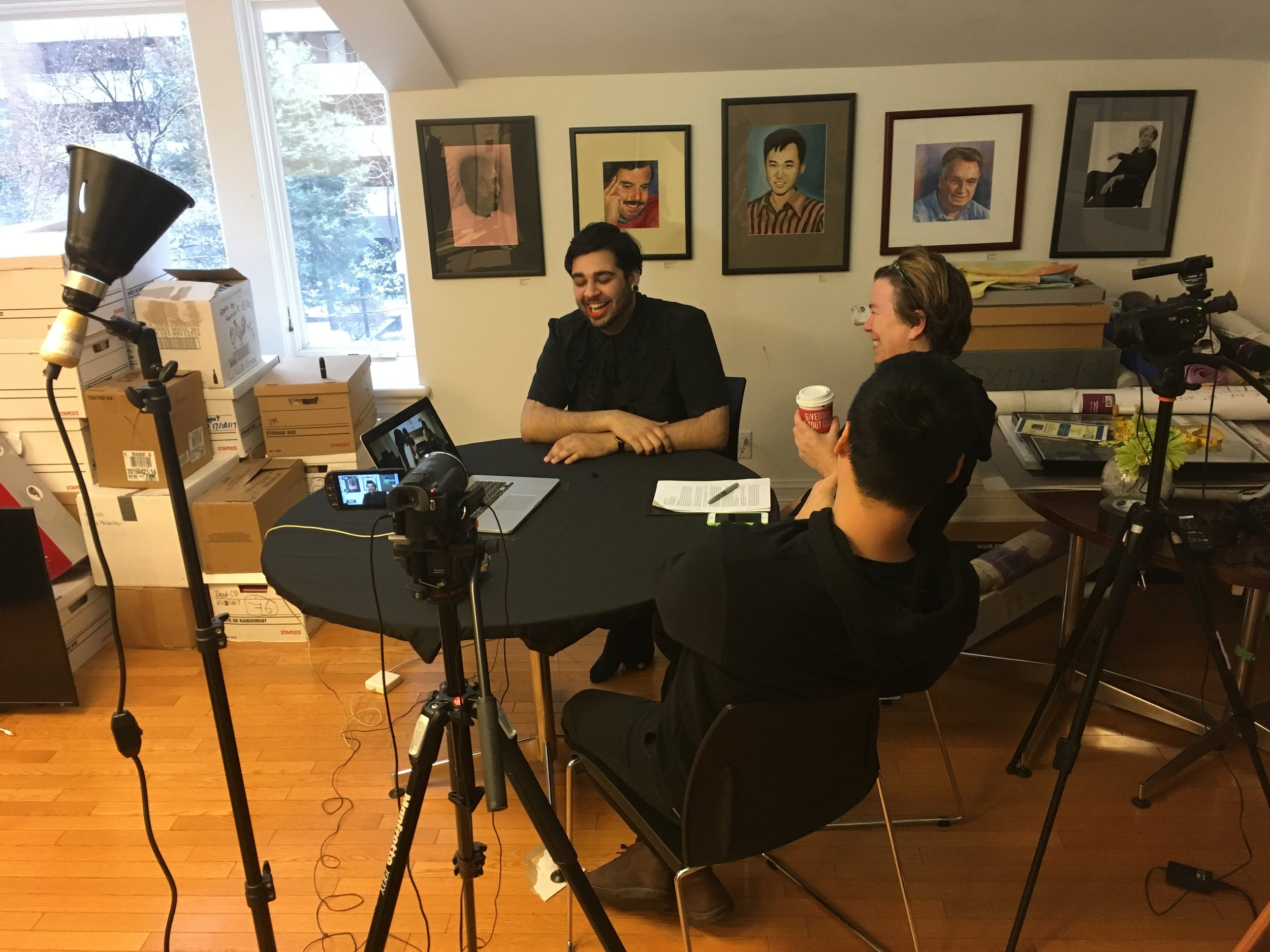 Sajdeep Soomal in interview with Elspeth Brown and Vinh nguyen at the CLGA (Photo: C. Barreto, 2018)