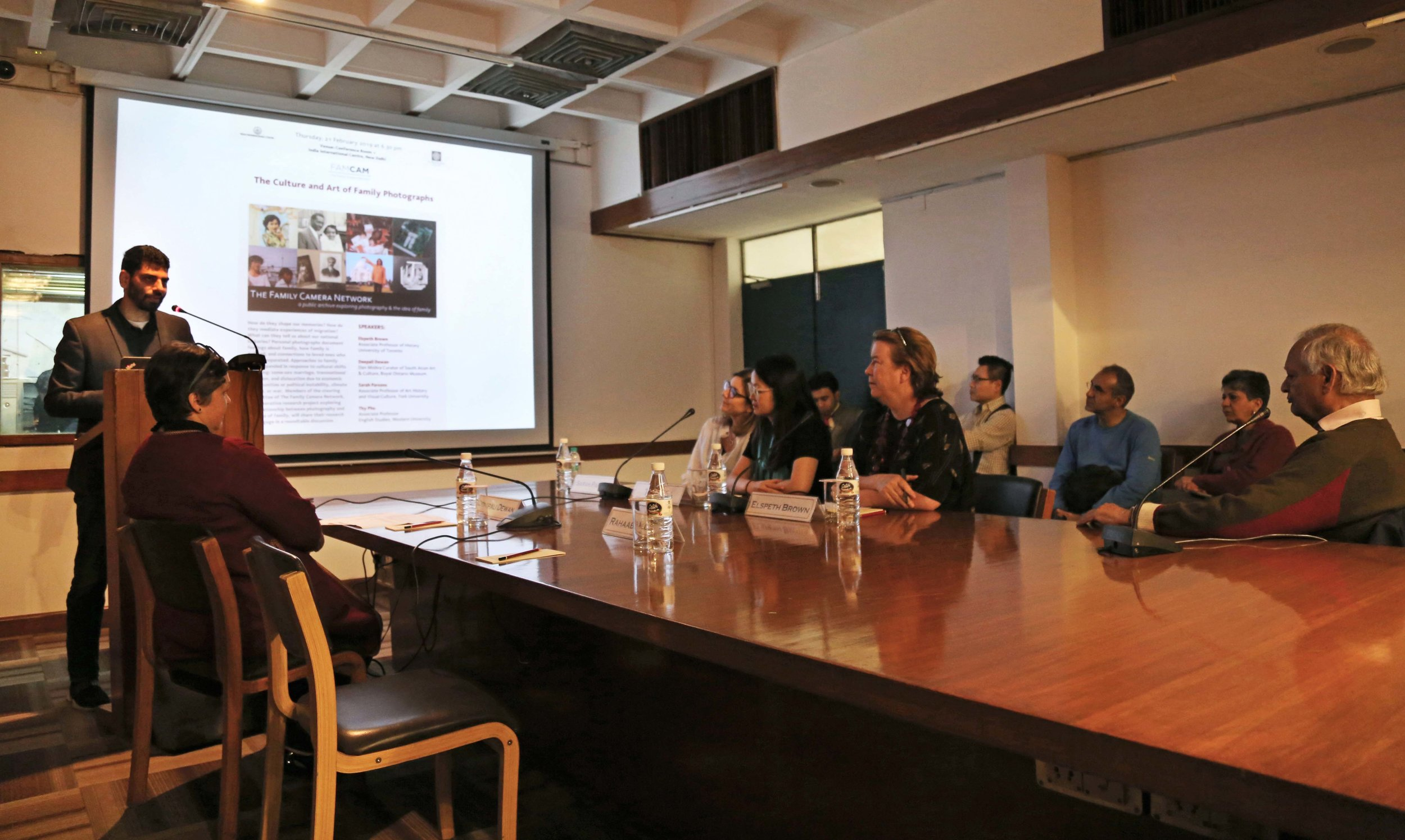 Rahaab Allana, curator of the Alkazi Foundation for the Arts, Introducing Panelists at IIC (Photo: Alkazi Photographic Archives, 2019).