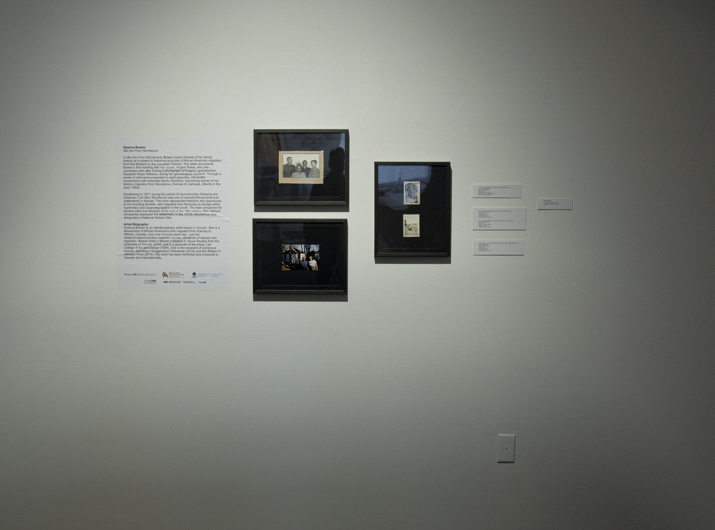 Deanna Bowen,  We Are From Nicodemus  (2017) ,  Installation View (Mcintosh Gallery, UWO, 2019)