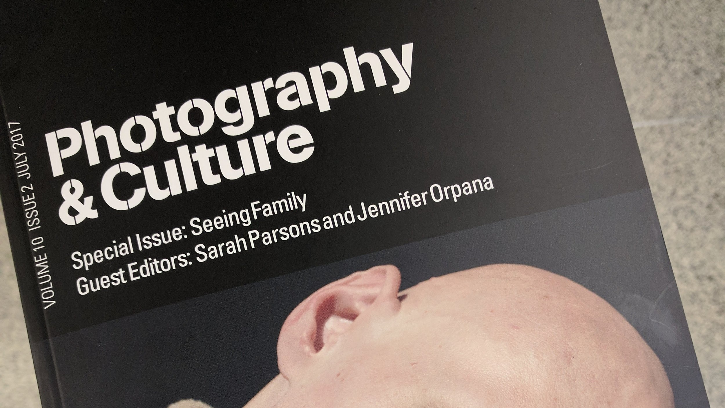 Cover of  photography & culture: seeing family  special issue (J. Orpana, 2017).