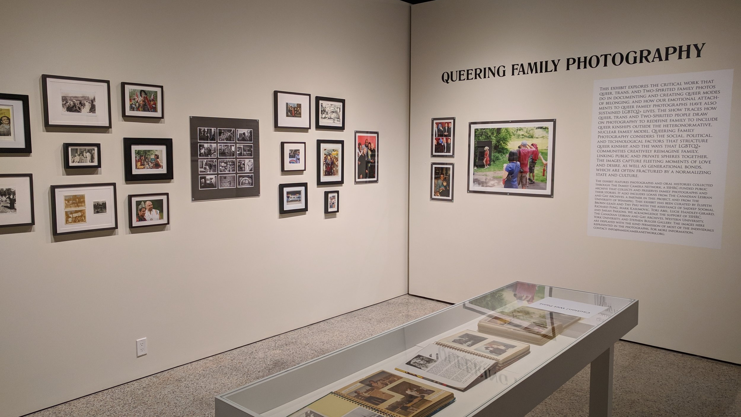 Installation view of  Queering Family Photography  (J. Orpana, 2018)