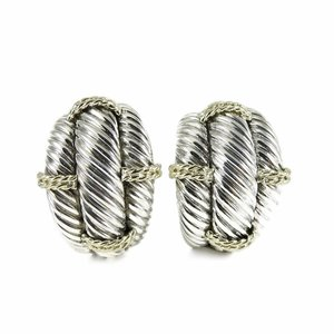 a98c72d00 David Yurman Sterling Silver 14K Yellow Gold Large Domed Cable Thoroughbred  Earrings