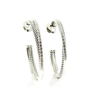 16ef688a3  David Yurman Sterling Silver .65tcw Extra Large 44mm Diamond  Crossover Hoop Earrings