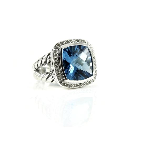 David Yurman Sterling Silver .41tcw 14mm Blue Topaz Diamond Split Shank Albion Ring