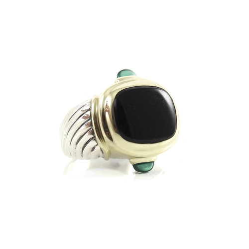 d96f10c5c4912 David Yurman Sterling Silver 14K Yellow Gold Black Onyx Green Onyx  Renaissance Ring — Bella Tutto Jewelry