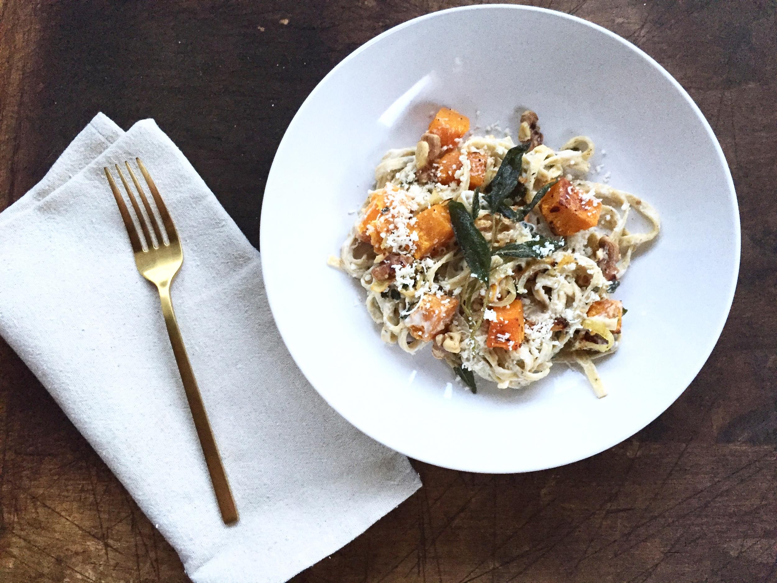 Butternut Squash Linguine with Chèvre + Crispy Fried Sage Leaves | All Purpose Flour Child