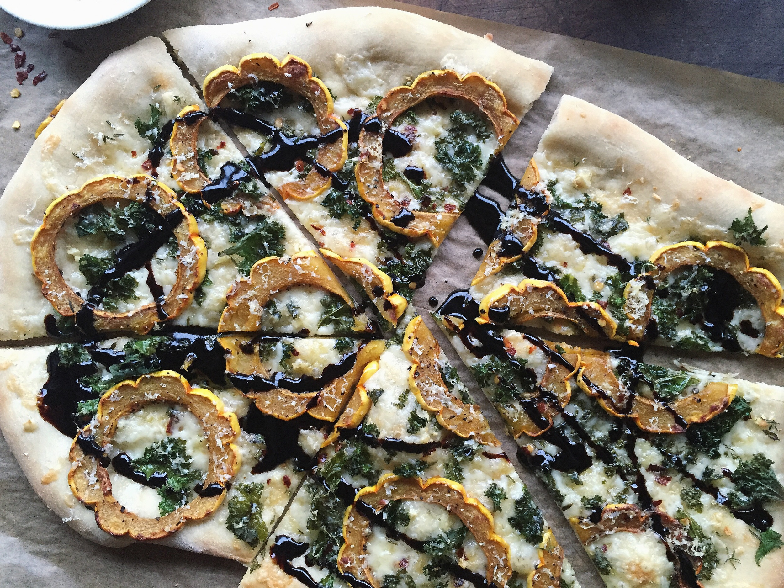 Delicata Squash + Fontina Pizza with Crispy Kale + Balsamic Glaze | All Purpose Flour Child