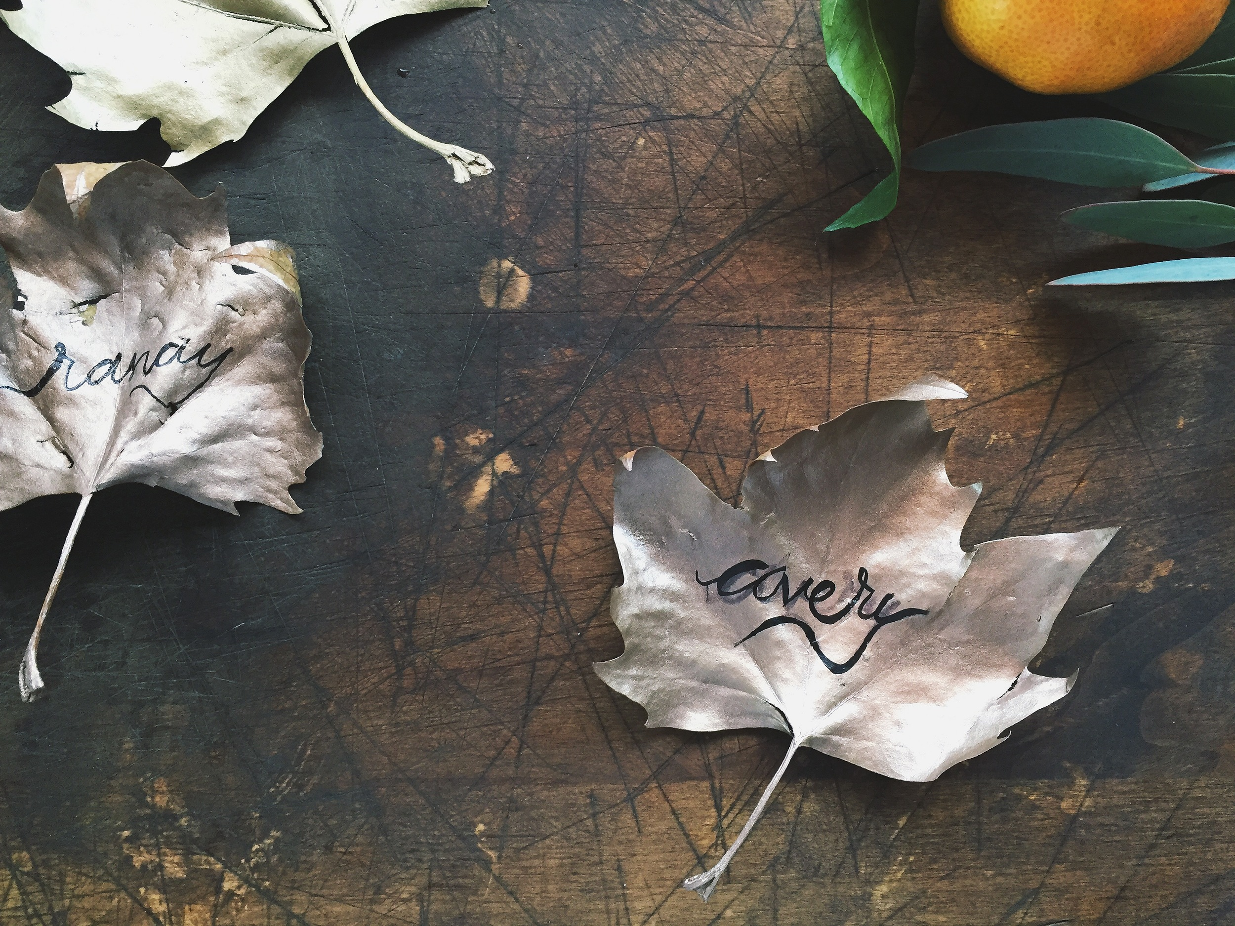 Gilded Leaf Place Cards | All Purpose Flour Child