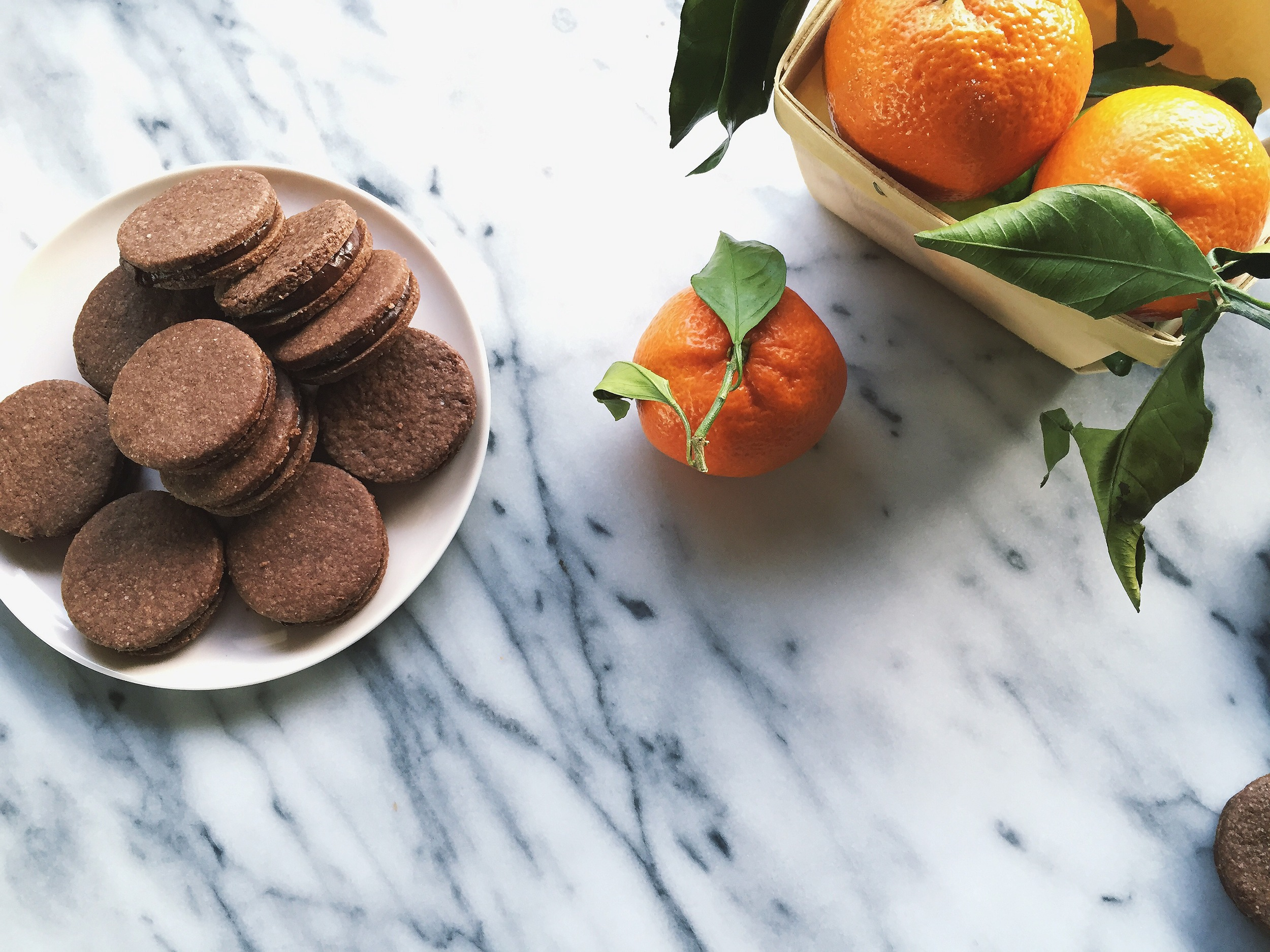 Chocolate Almond + Orange Ganache Sandwich Cookies | All Purpose Flour Child