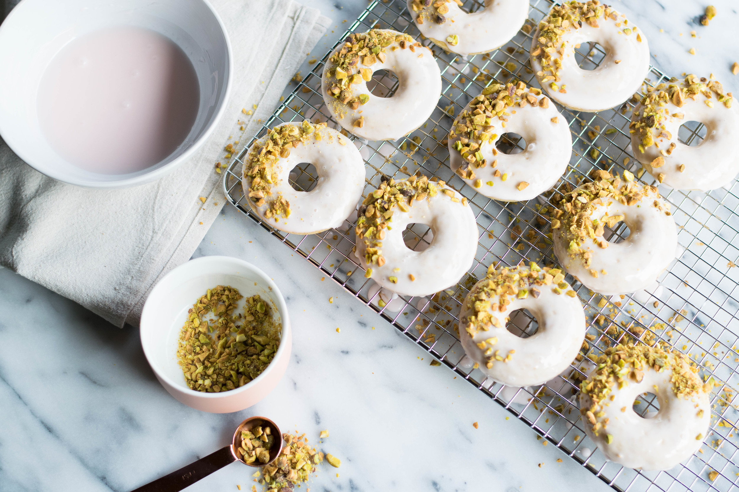 Pistachio Rose Baked Doughnuts   All Purpose Flour Child