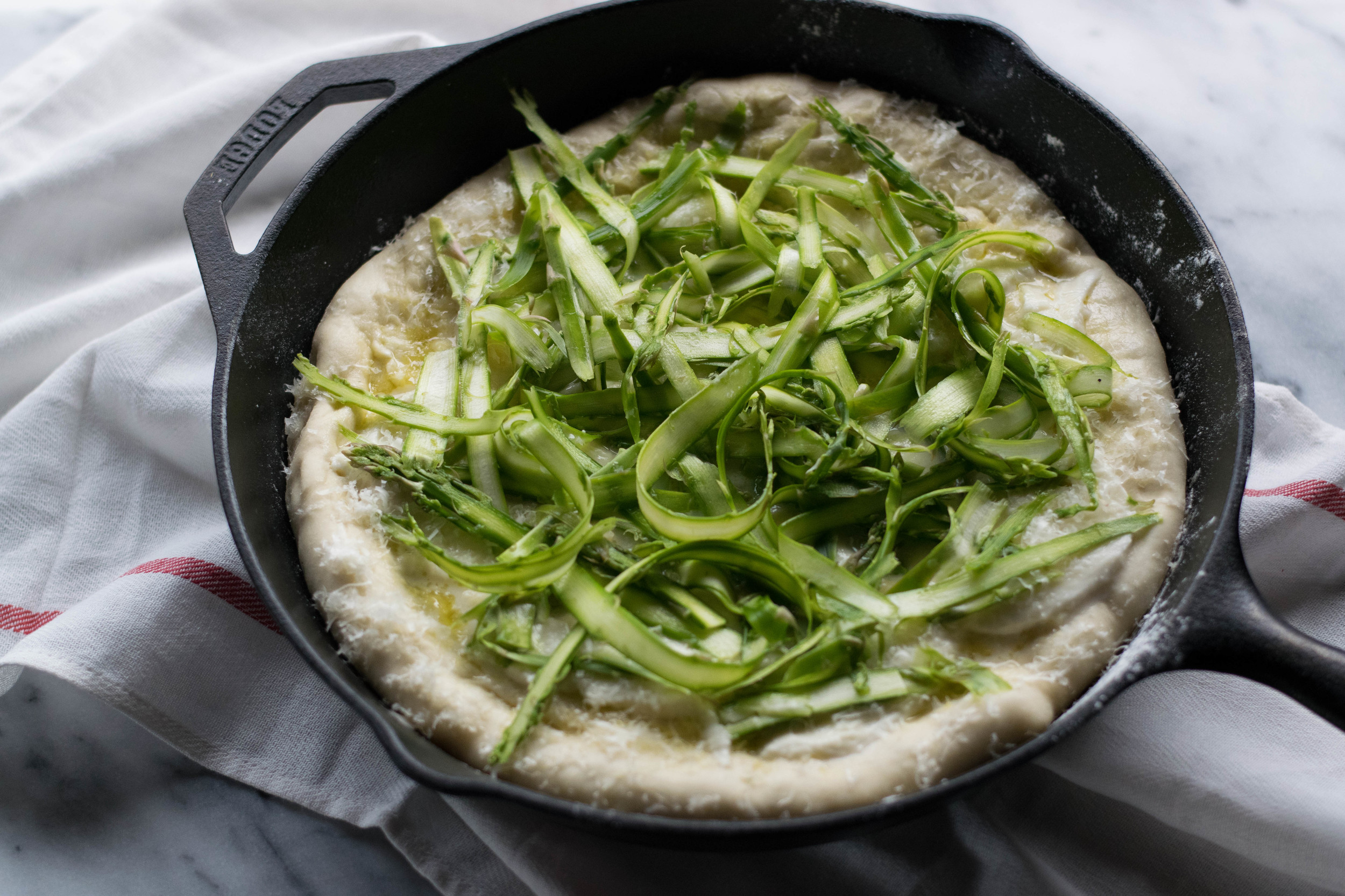 White Skillet Pizza with Shaved Asparagus | All Purpose Flour Child