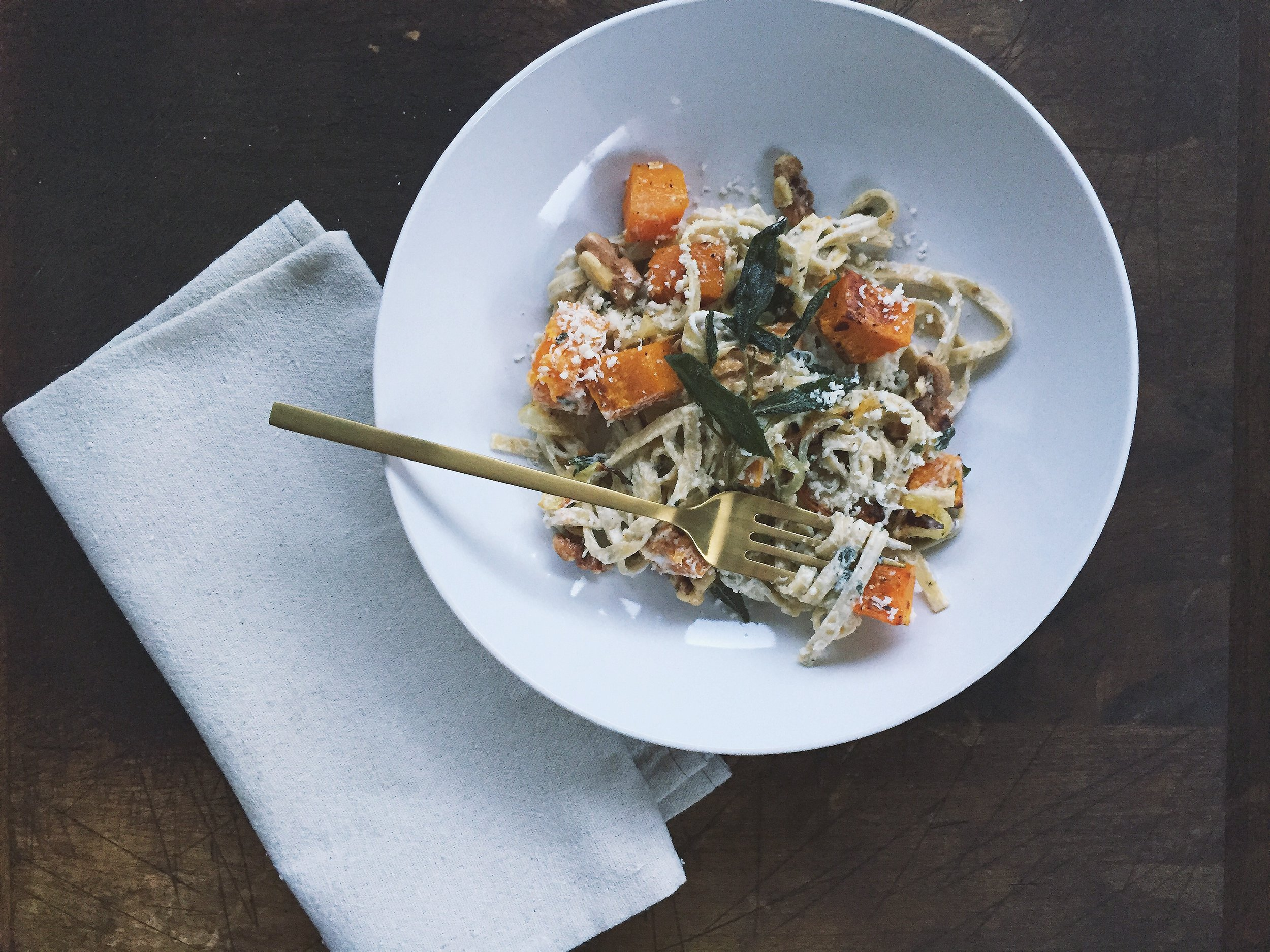 Butternut Squash Linguine with Chevre + Crispy Fried Sage