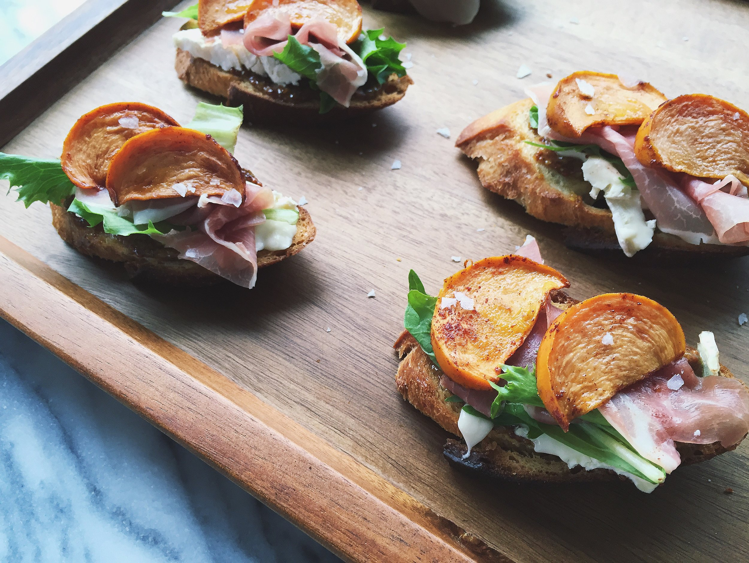 Roasted Persimmon Crostini