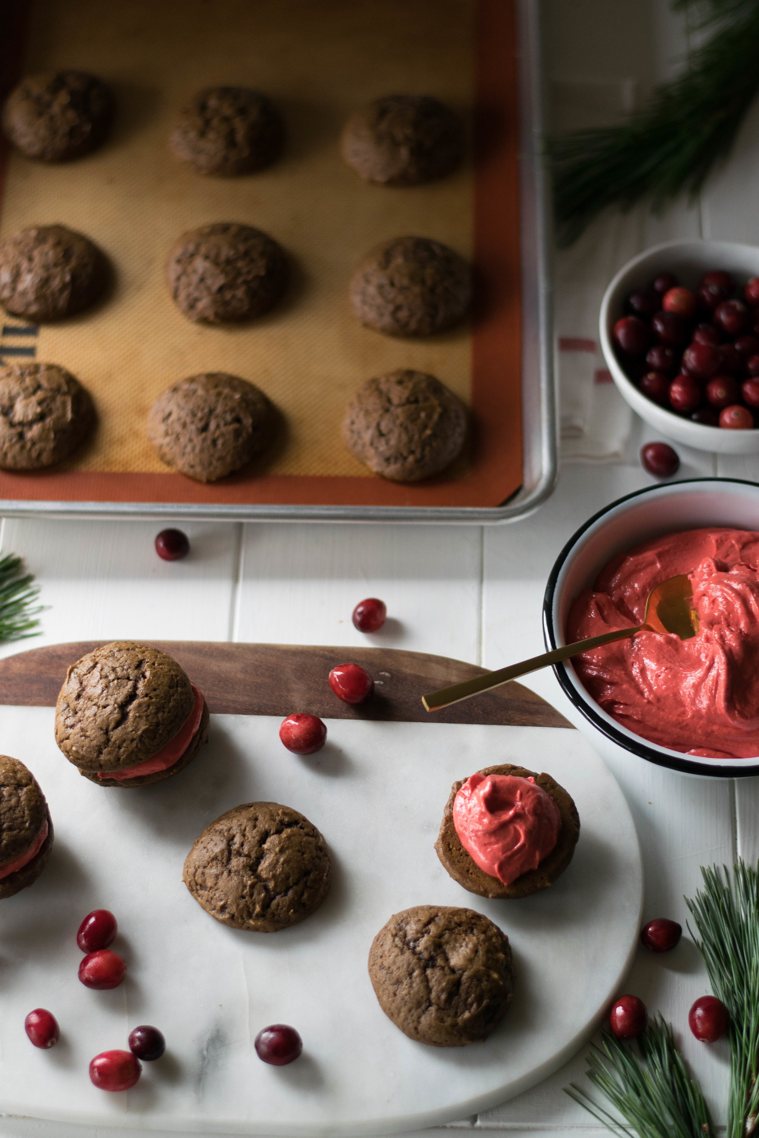 Gingerbread Whoopie Pies with Cranberry Curd Buttercream | All Purpose Flour Child