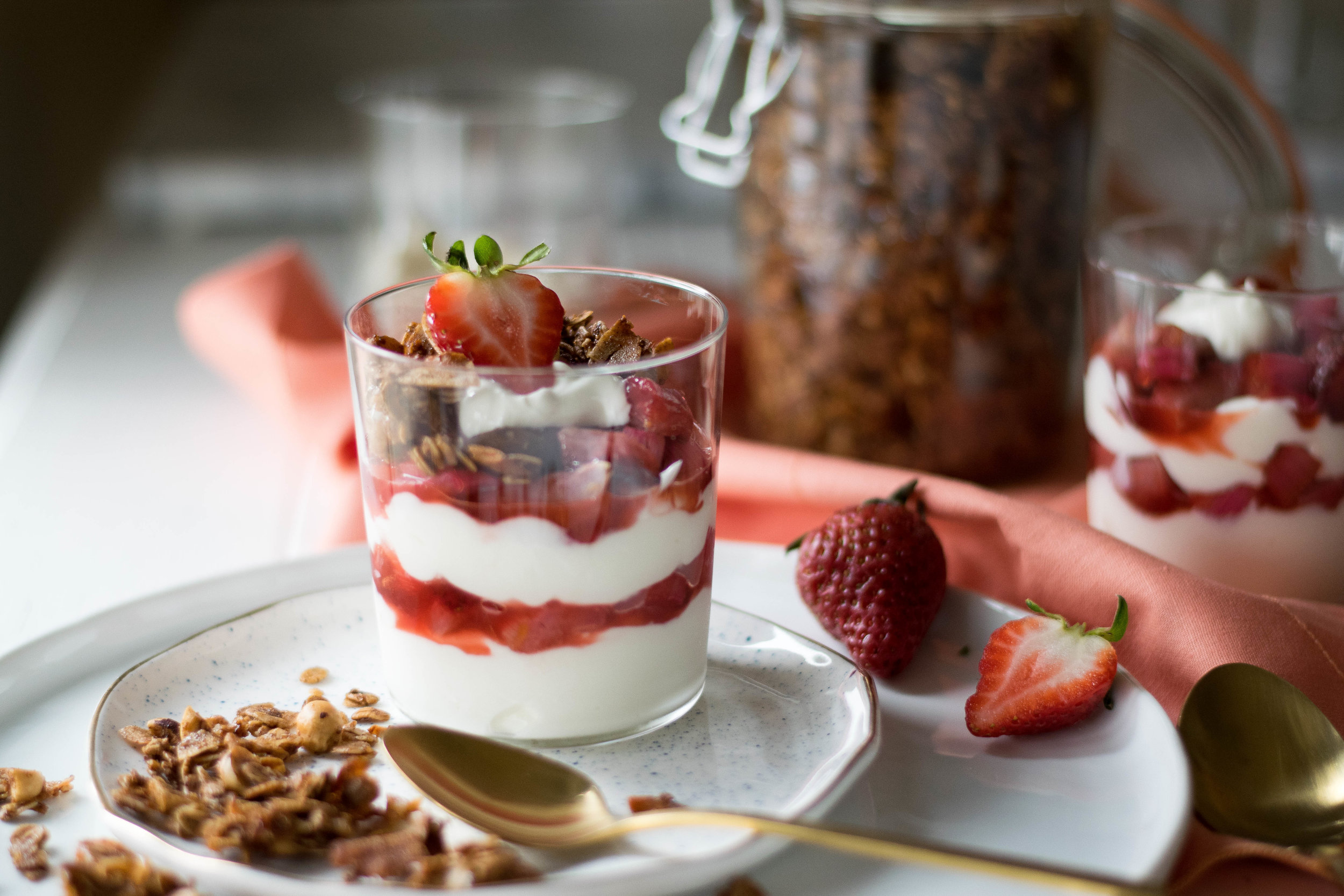 Roasted Rhubarb + Strawberry Yogurt Parfaits | All Purpose Flour Child