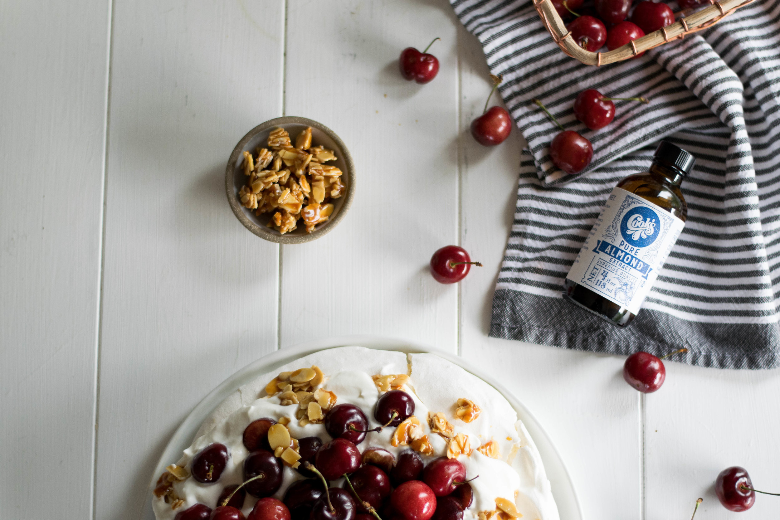 Caramelized Almond Brittle + Cherry Pavlova // Sponsored by Cook Flavoring Company | All Purpose Flour Child