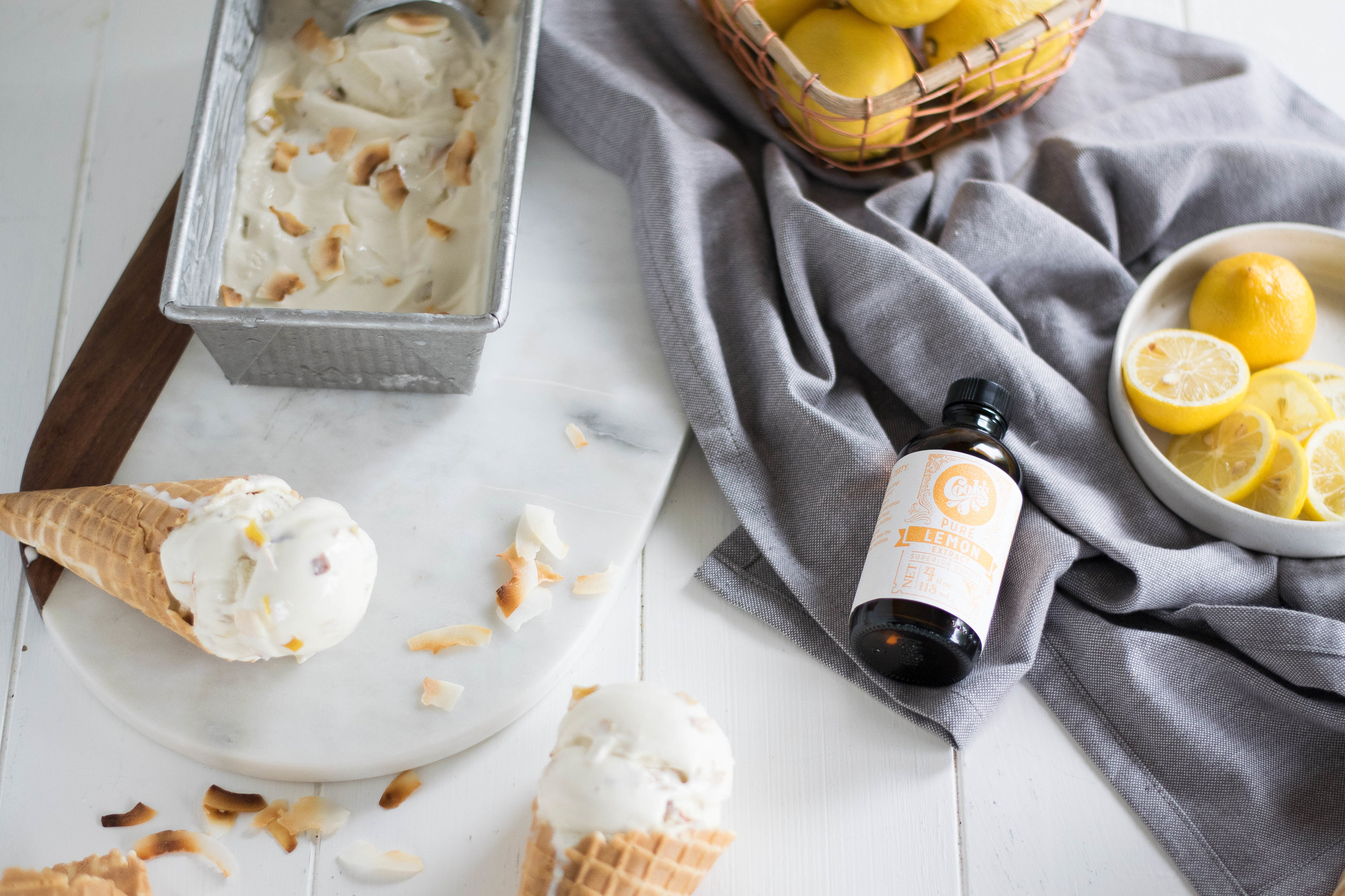 Candied Lemon Peel + Toasted Coconut Ice Cream (Dairy-Free) // Sponsored By Cook Flavoring Company | All Purpose Flour Child