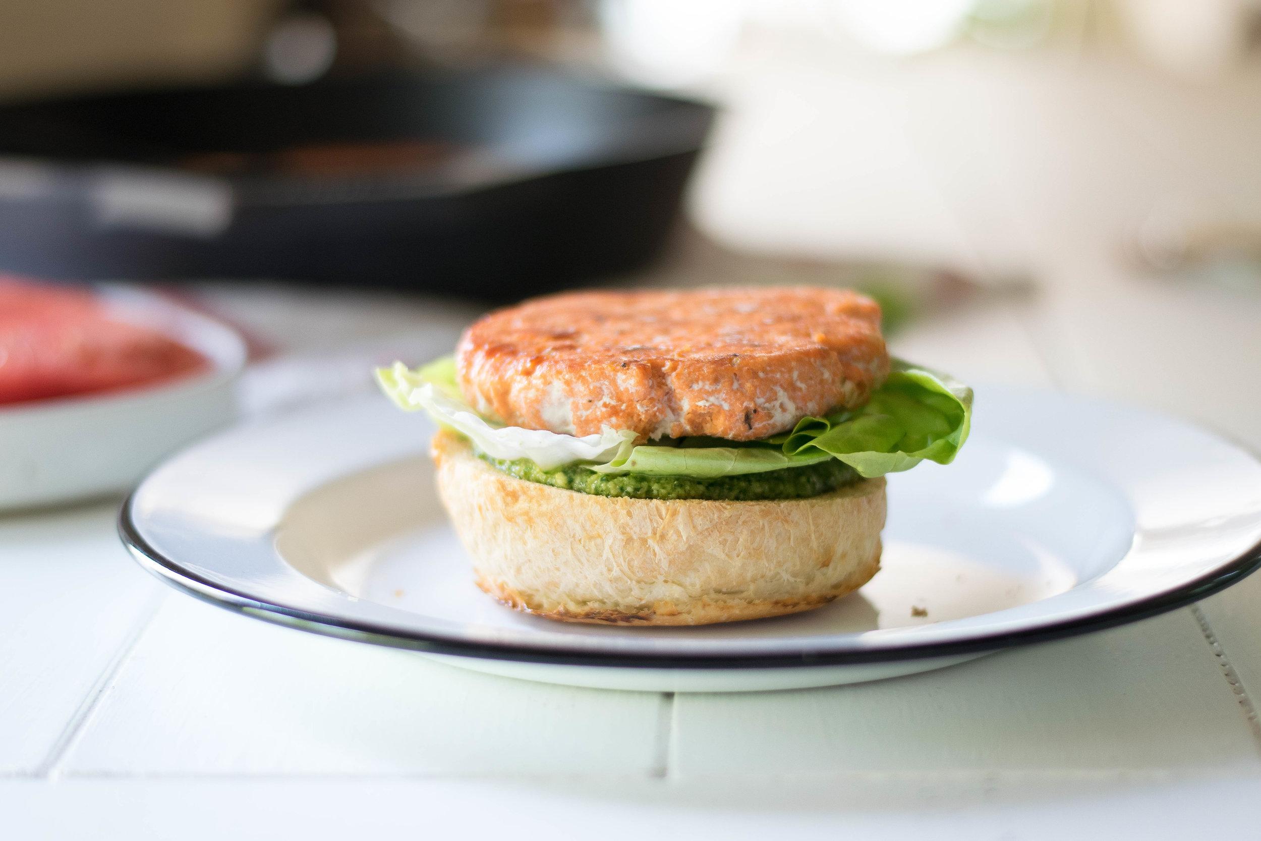 Pesto Salmon Burgers | All Purpose Flour Child