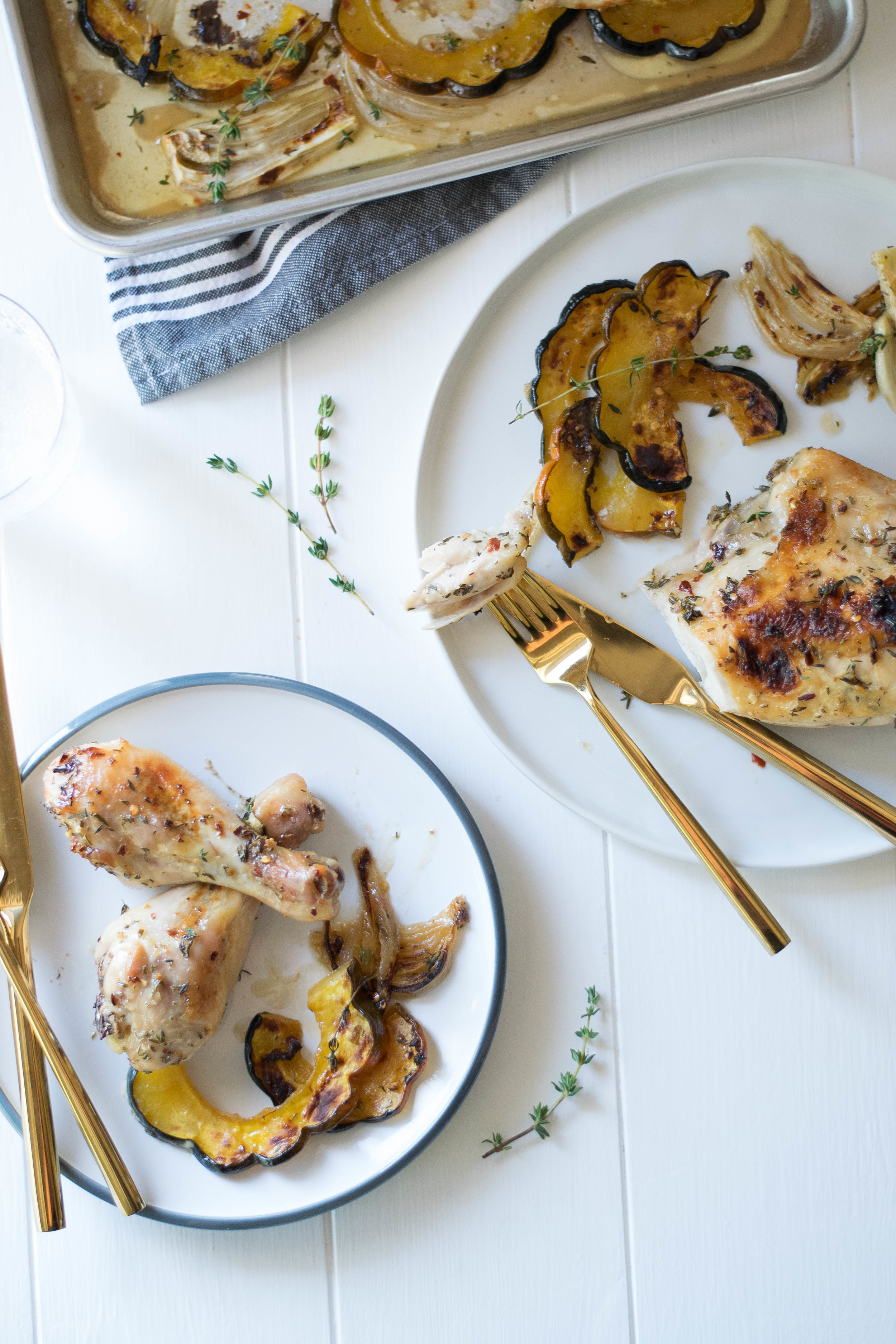 Maple-Roasted Sheet Pan Chicken with Caramelized Acorn Squash + Fennel | All Purpose Flour Child
