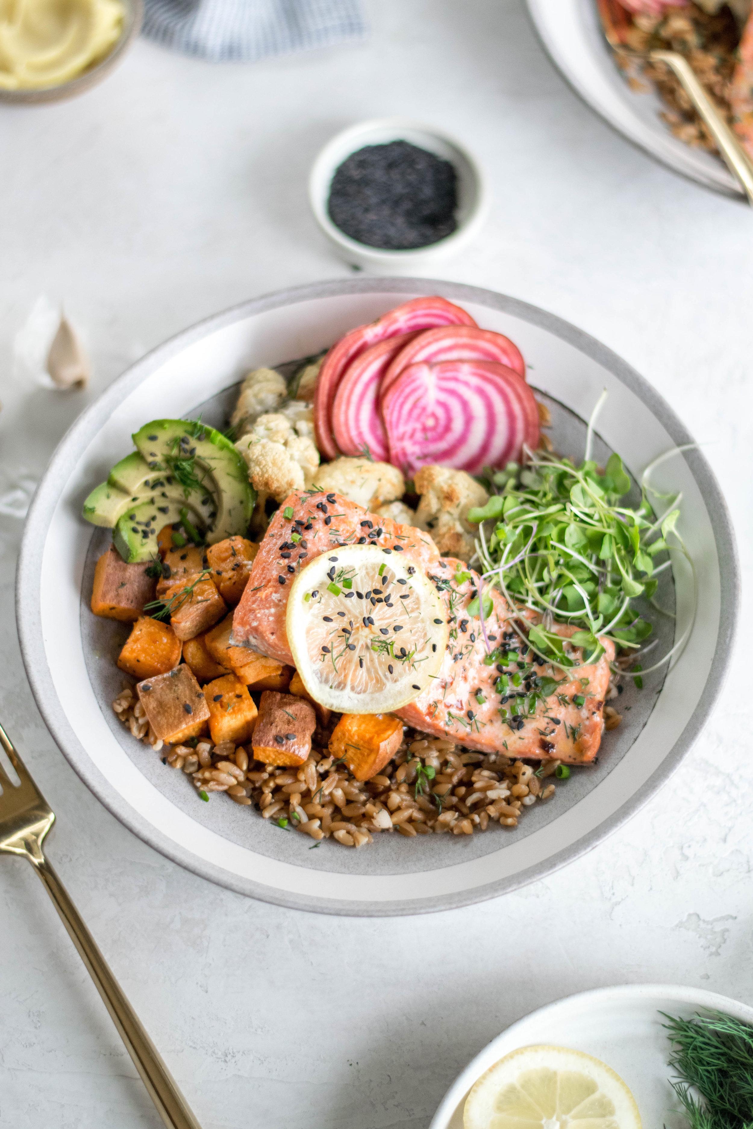 Garlic Slow-Roasted Salmon + Vegetable Grain Bowl | All Purpose Flour Child