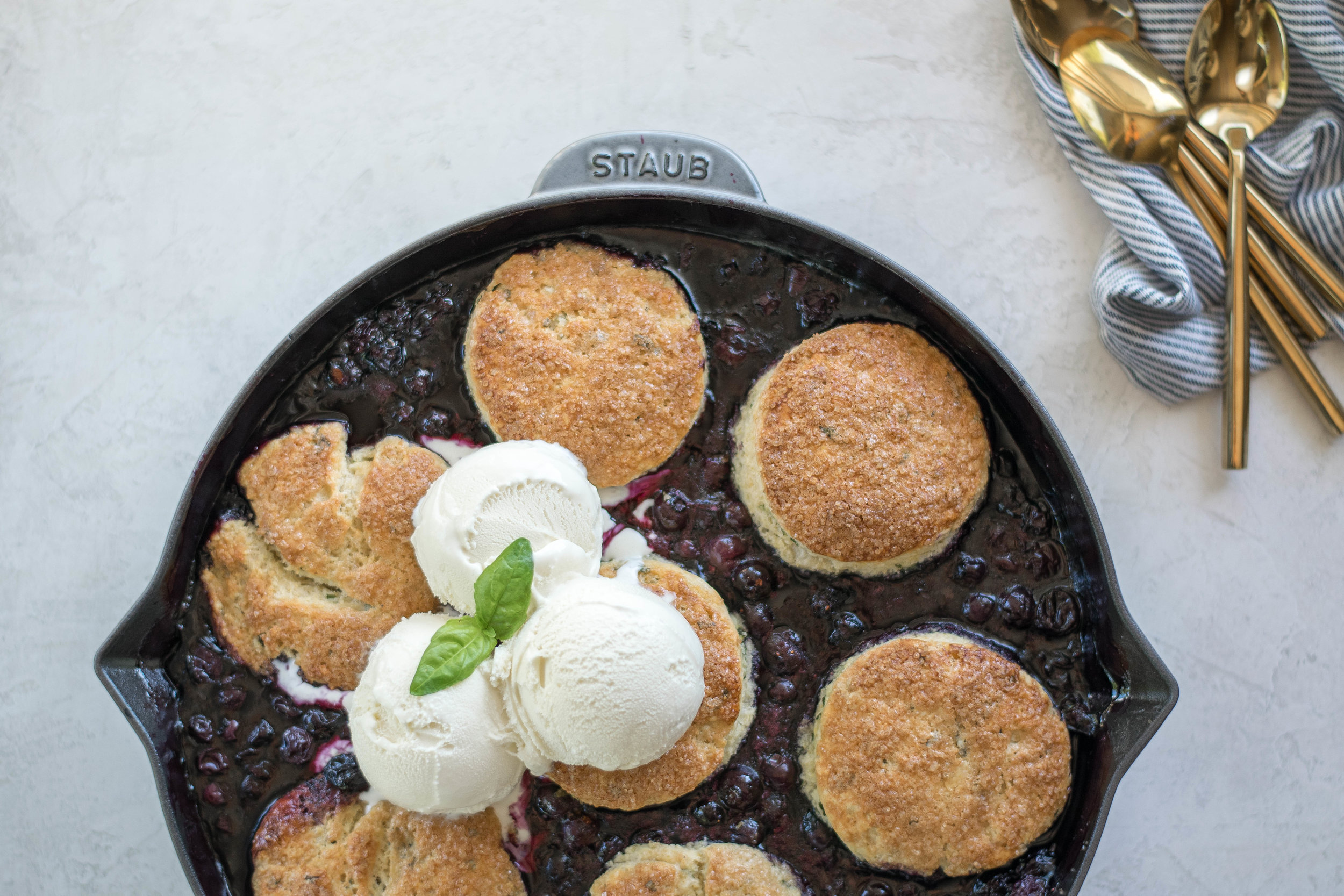 Blueberry Basil Skillet Cobbler with Cornbread Biscuits | All Purpose Flour Child