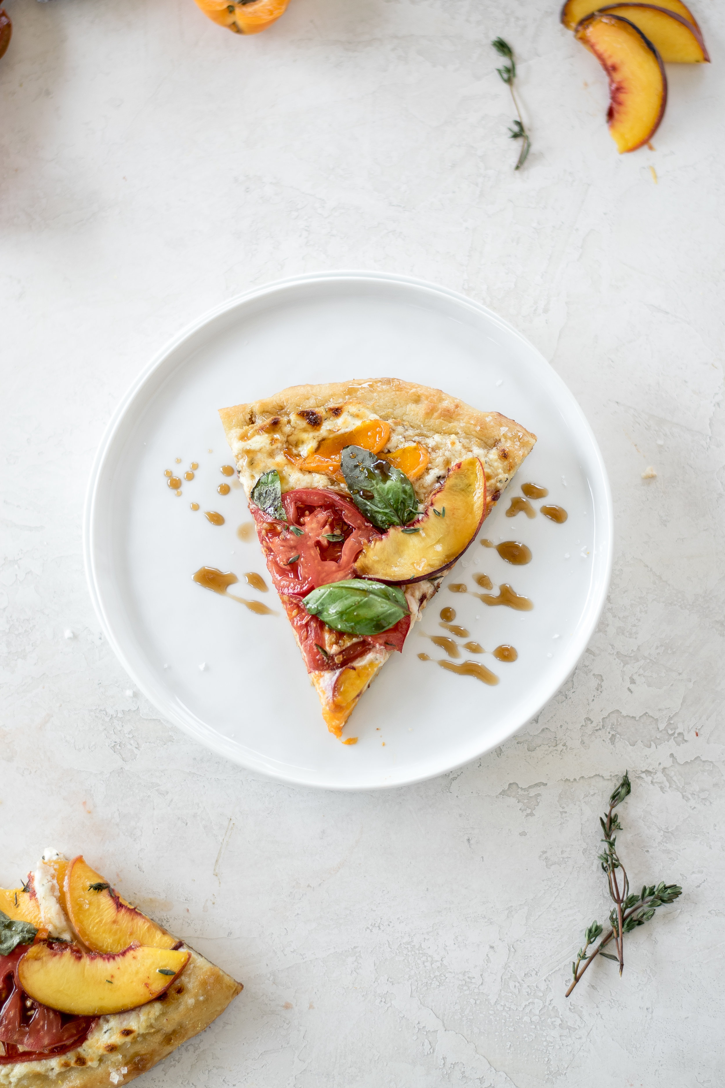 White Pizza with Summer Stone Fruit + Heirloom Tomatoes | All Purpose Flour Child
