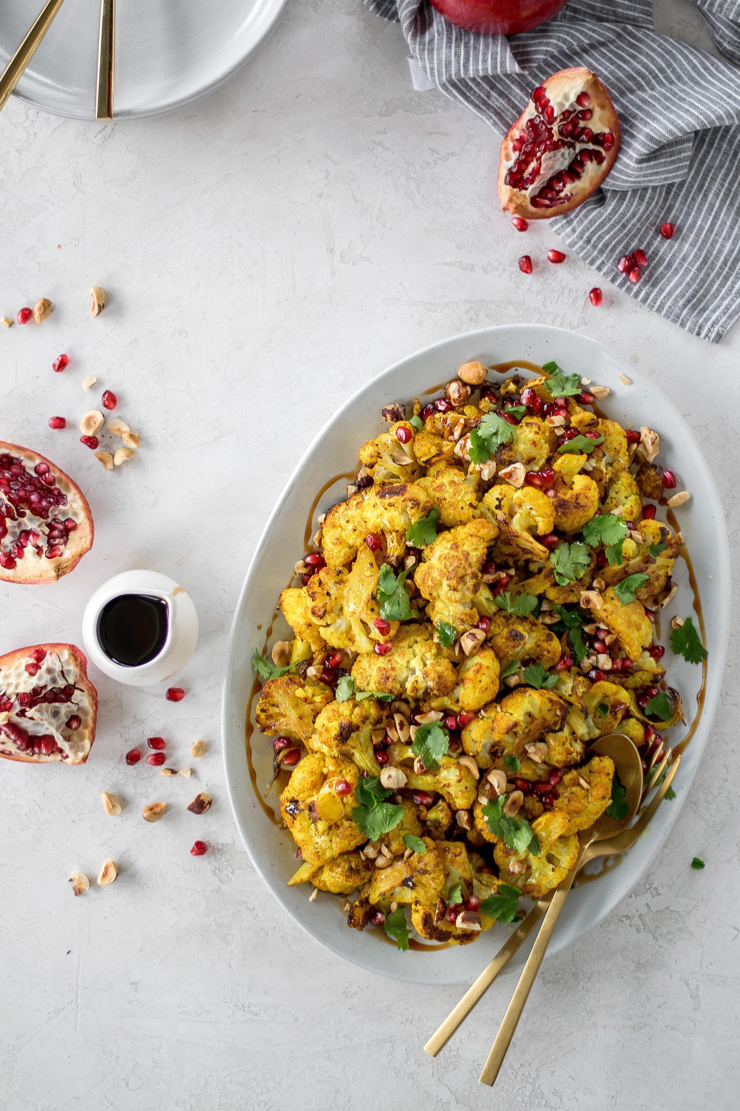 Golden Roasted Cauliflower with Pomegranate + Hazelnuts | All Purpose Flour Child
