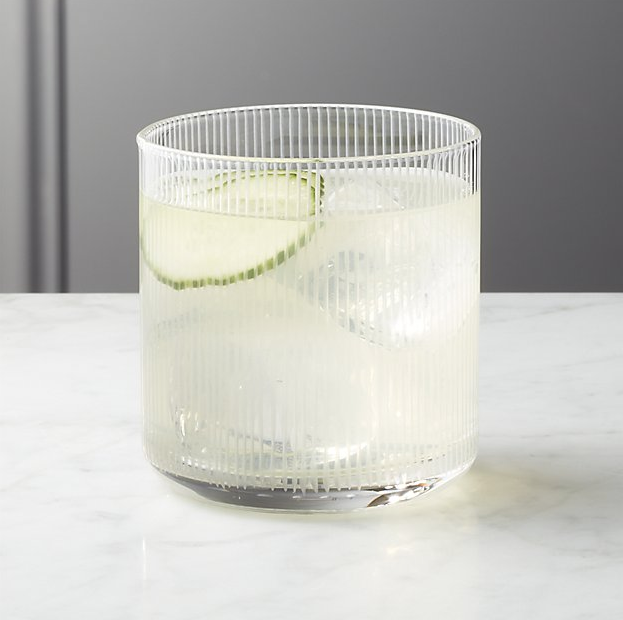 CB2 Pinstripe Double Old Fashioned Glass
