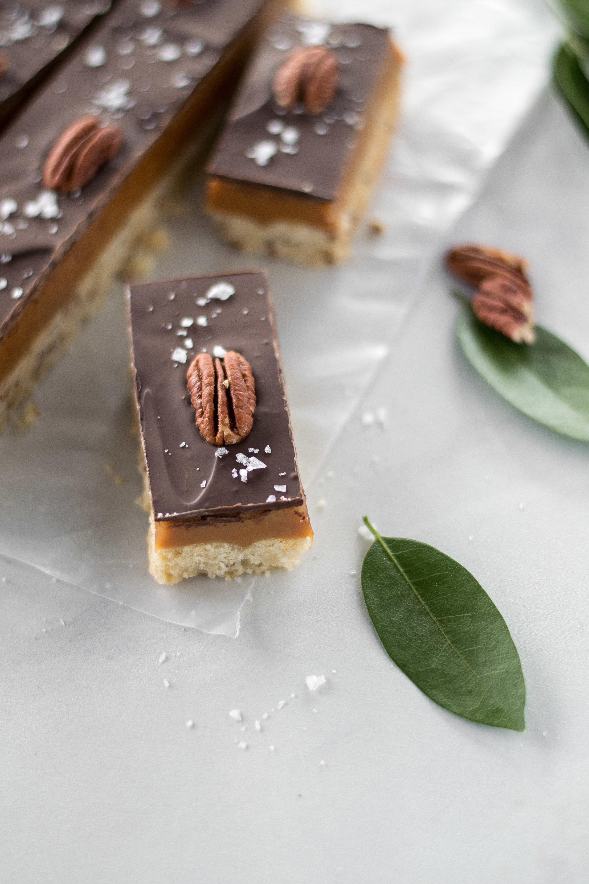 Bay Leaf + Pecan Millionaire Shortbread Bars | All Purpose Flour Child