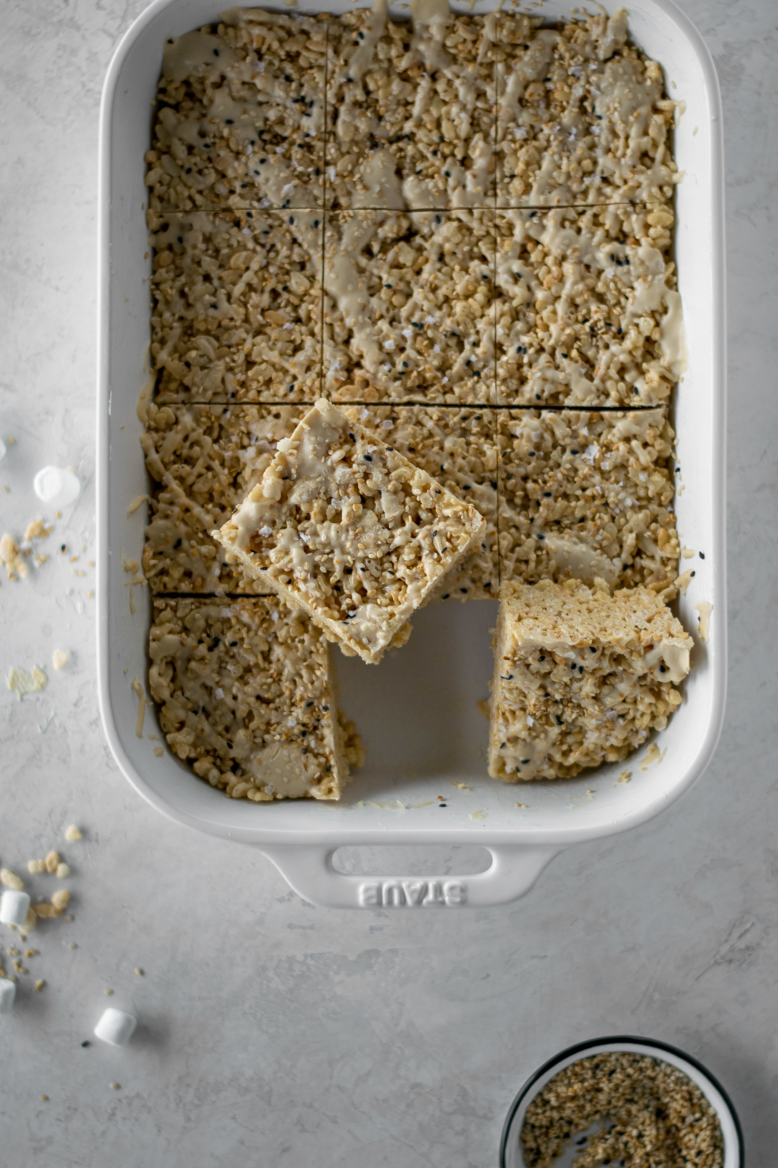 Salted Brown Butter Tahini Rice Krispie Treats | All Purpose Flour Child