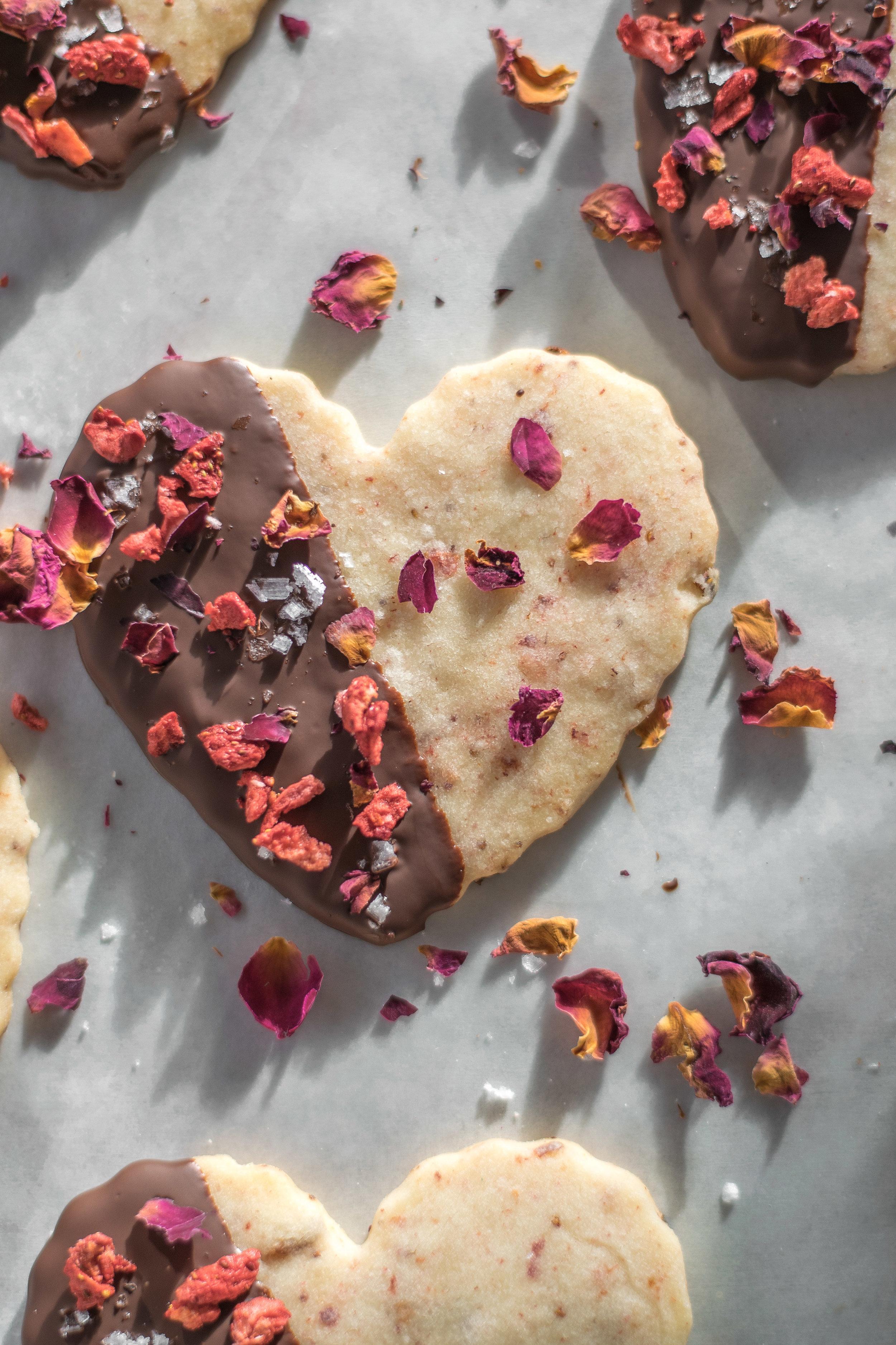 Strawberry Rose Shortbread Hearts | All Purpose Flour Child