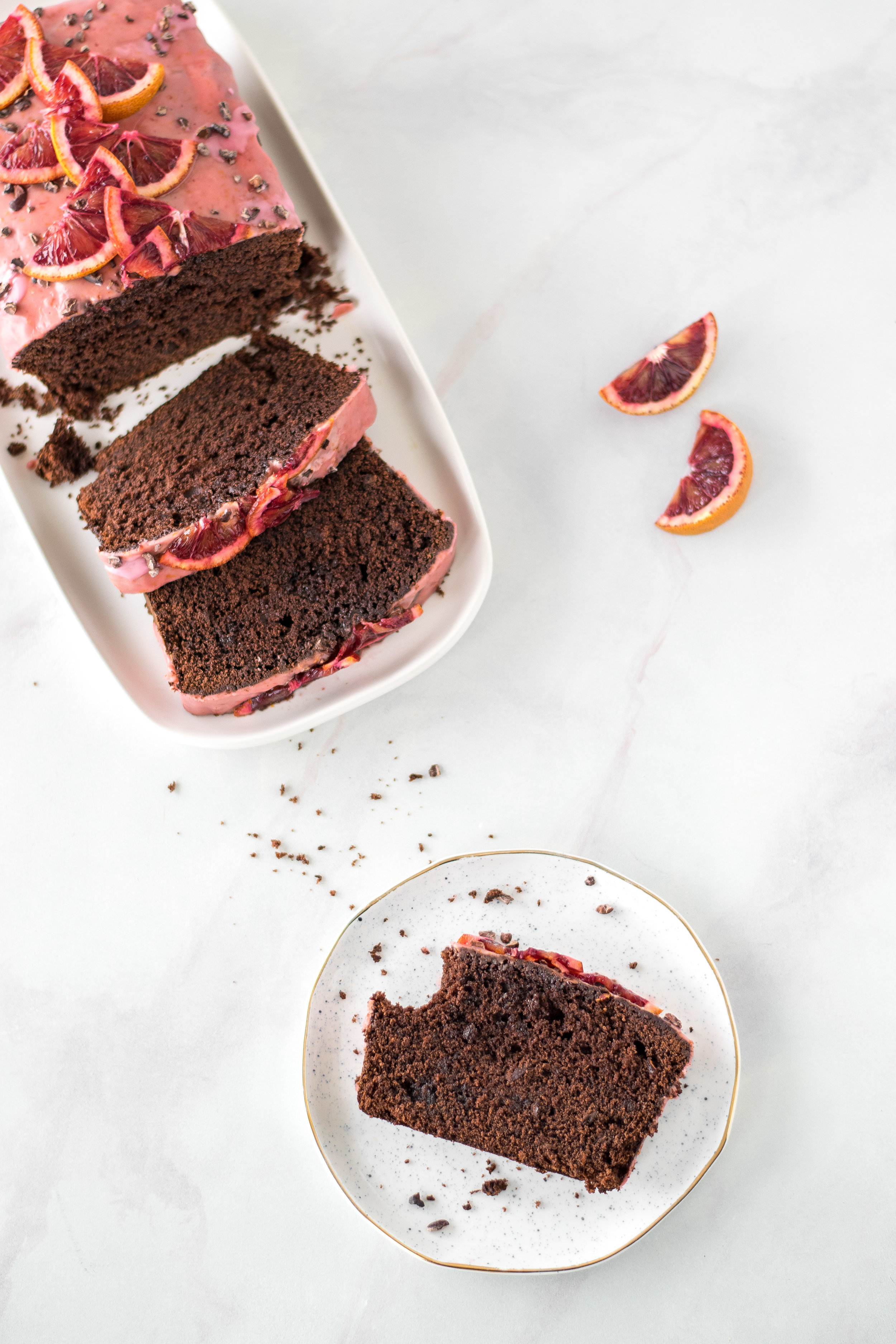 Chocolate Buttermilk + Blood Orange Loaf Cake with Cacao Nibs | All Purpose Flour Child