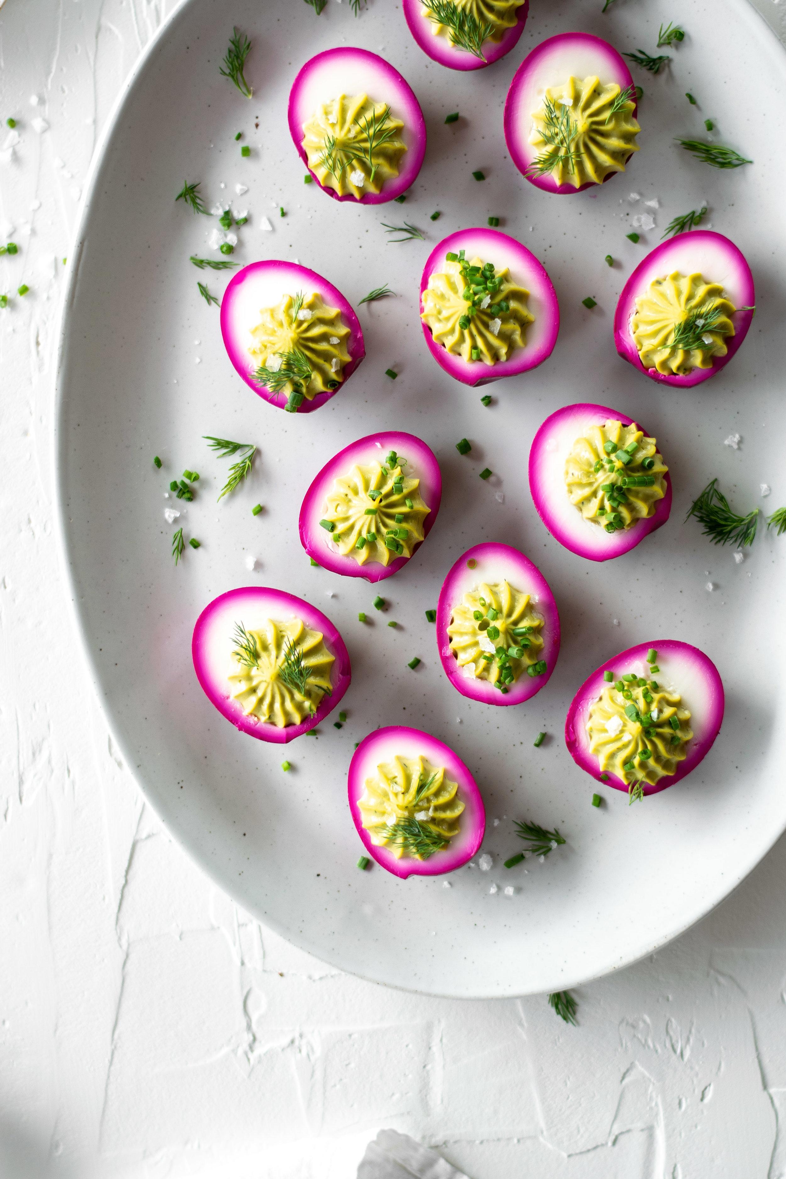 Pickled Beet + Avocado Deviled Eggs | All Purpose Flour Child