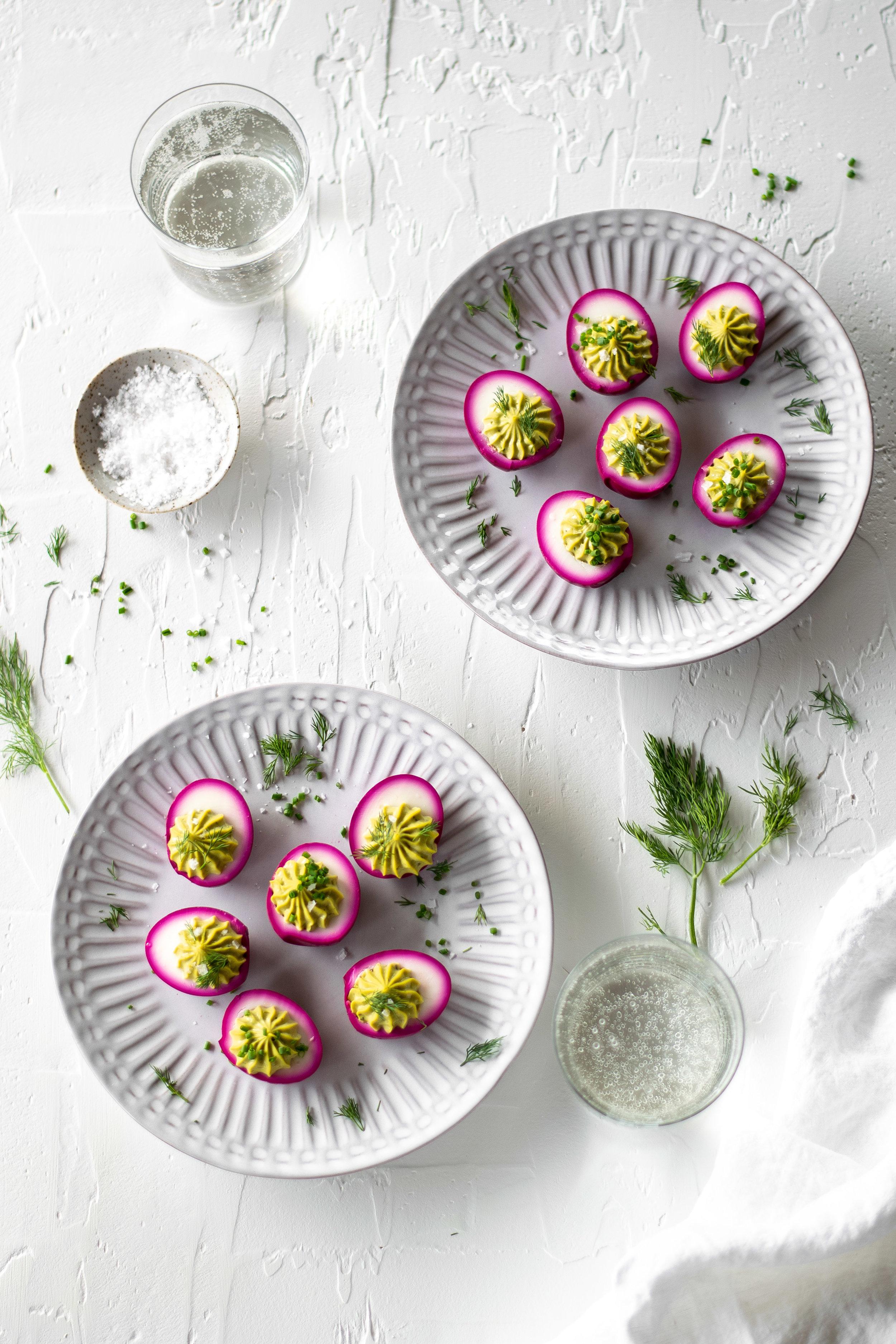 Pickled Beet + Avocado Deviled Eggs   All Purpose Flour Child