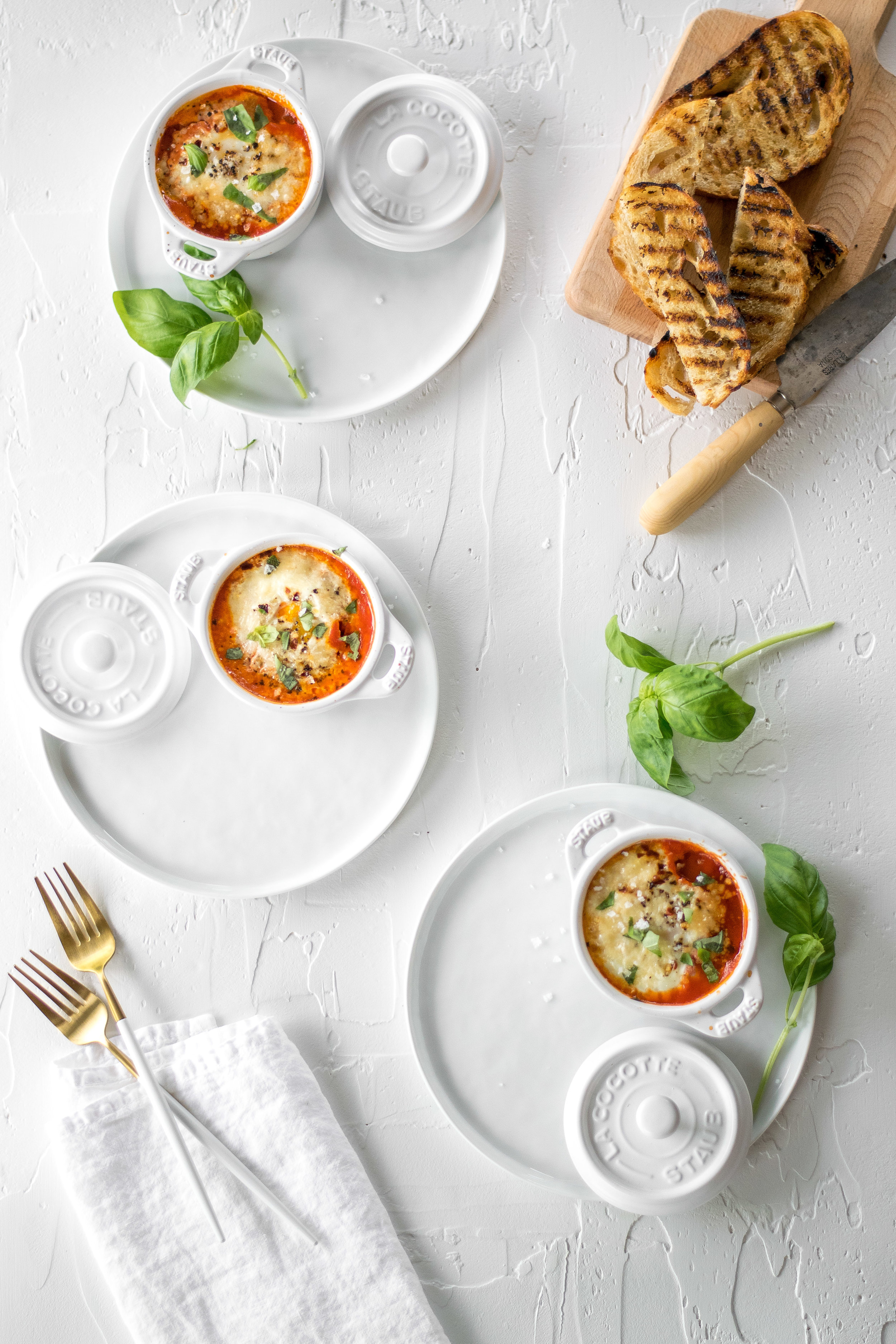 Mini Eggs In Purgatory with Garlicky Toasts | All Purpose Flour Child