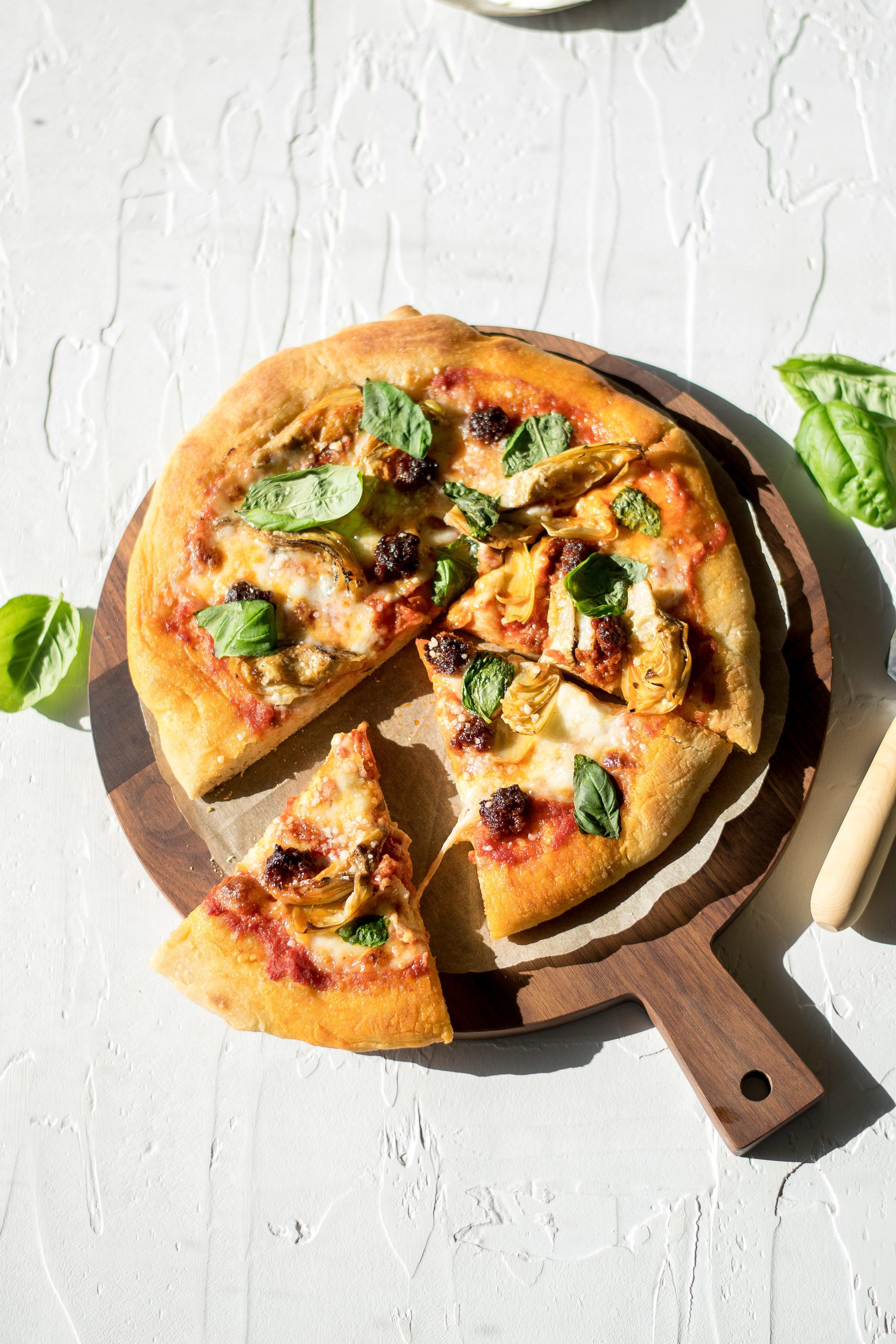 Artichoke, 'Nduja, + Fresh Mozzarella Pizza | All Purpose Flour Child