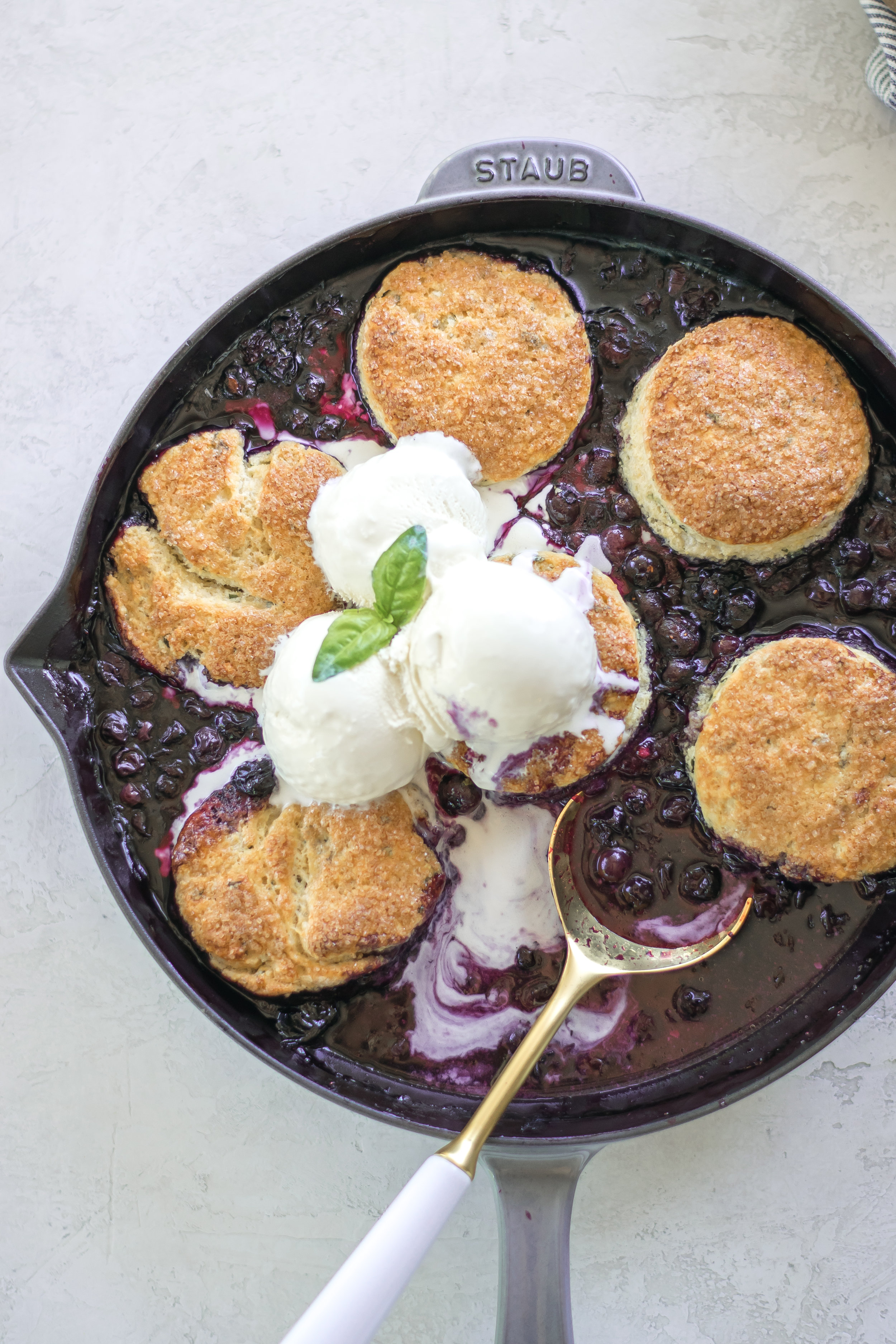 Blueberry Basil Skillet Cobbler with Cornbread Biscuits