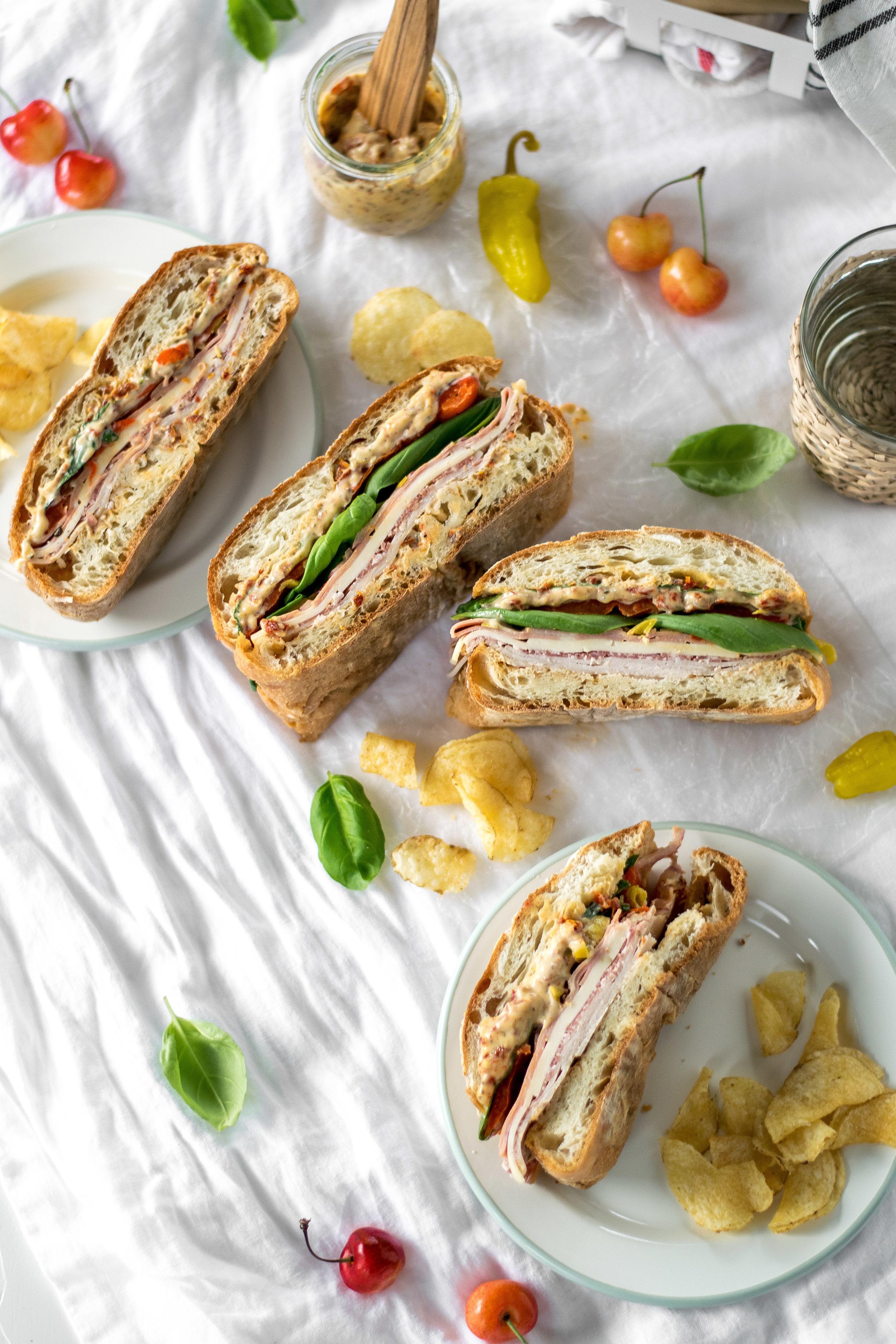 Italian Pressed Picnic Sandwiches with Sun-Dried Tomato Aioli | All Purpose Flour Child