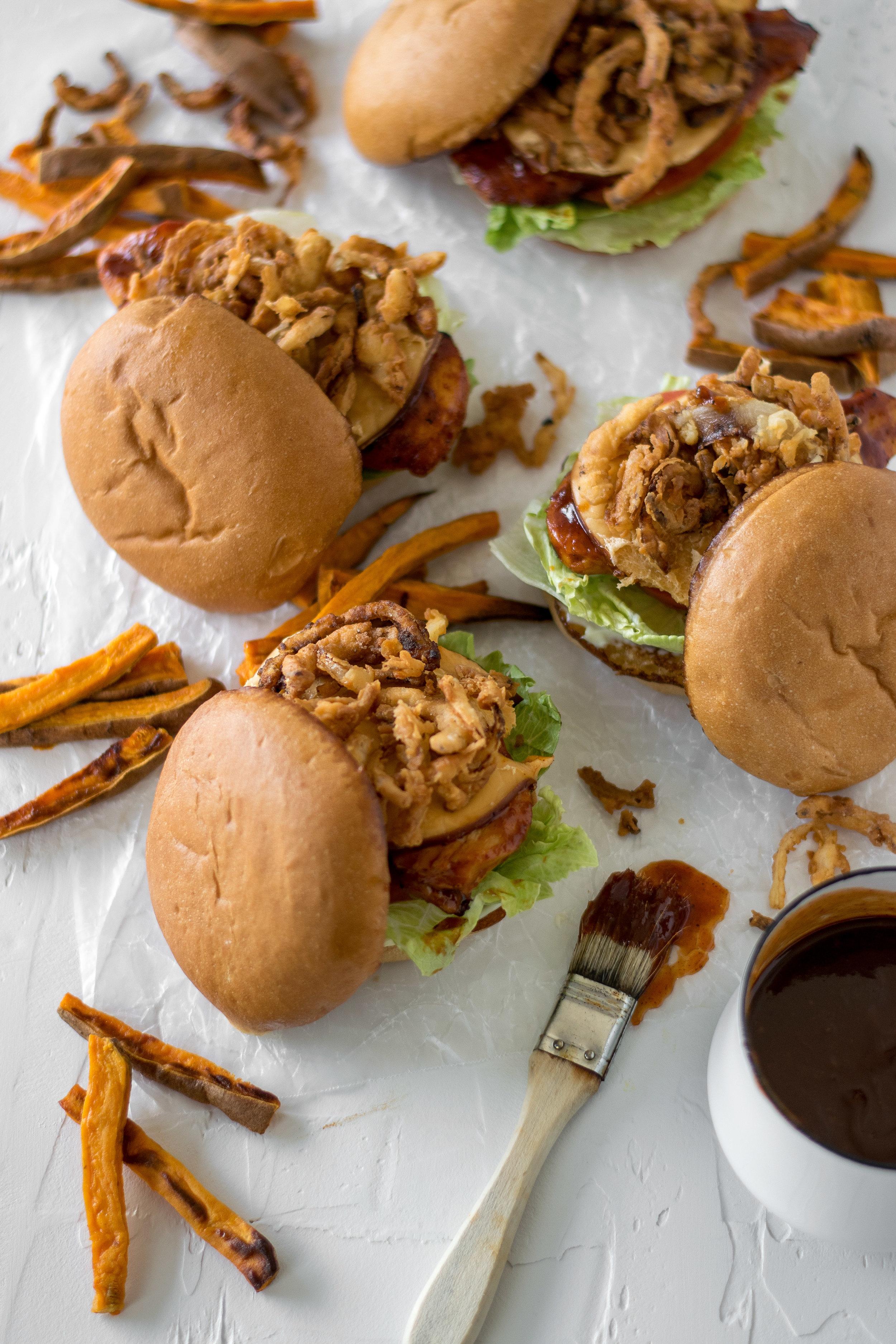Bourbon Barbecue Chicken Burgers with Crispy Onion Straws | All Purpose Flour Child