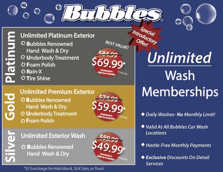 Unlimited Wash Memberships Bubbles