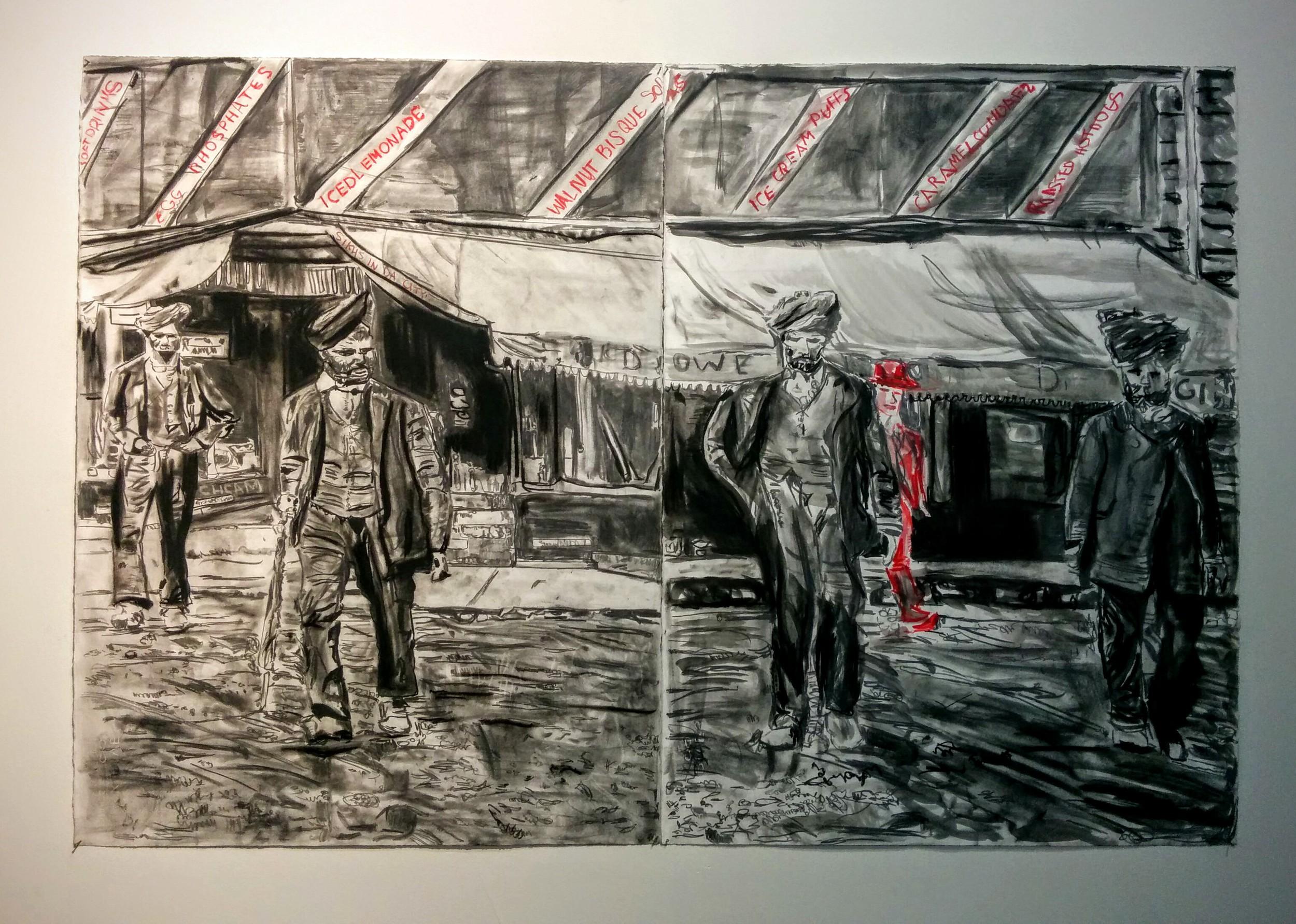 Charcoal and paint drawings by Jagdeep Raina