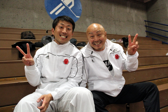 Naotaka Takeda (left) recently celebrated his Canadian citizenship with dear friends from the karate community. Kaz Hashimoto (right) is his karate sensei. Photo by Deanna Cheng